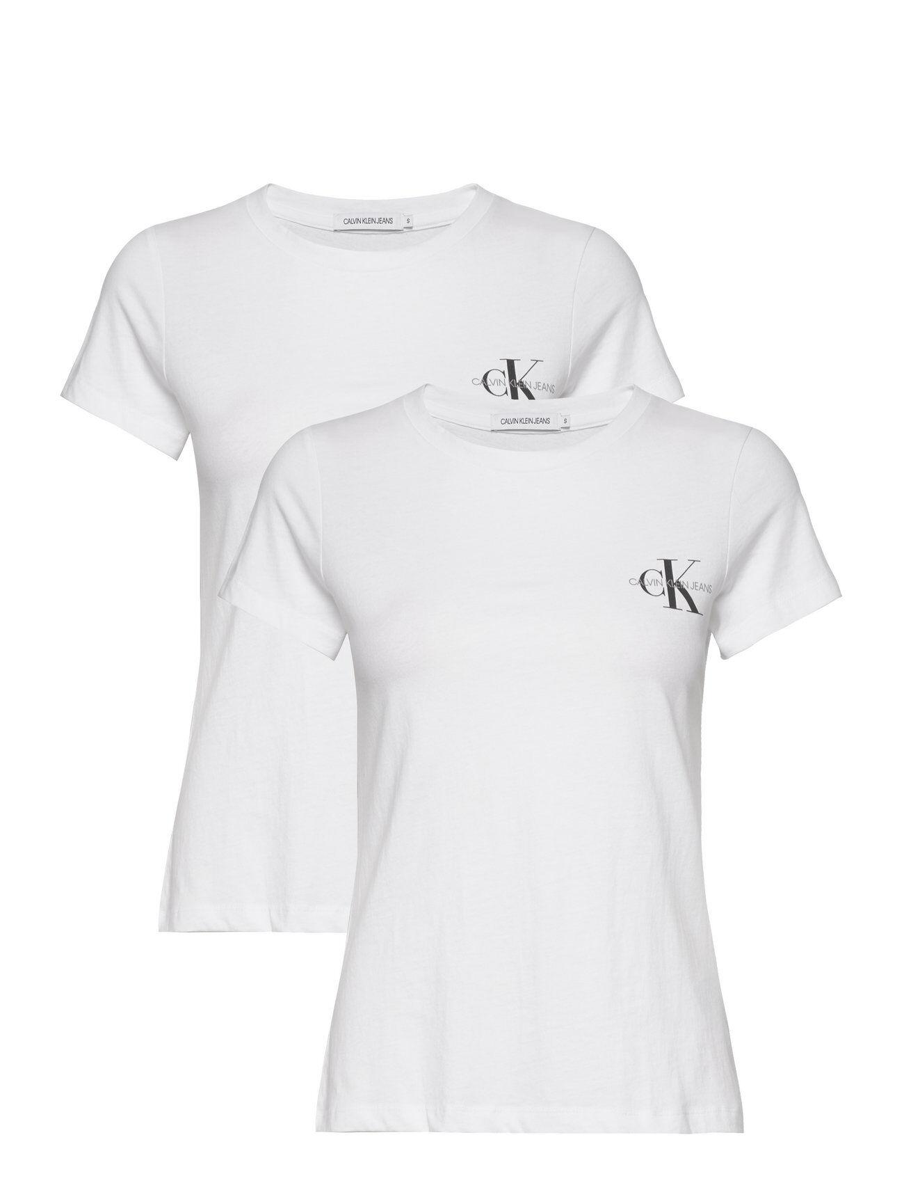 Image of Calvin 2 Pack Slim T-Shirt T-shirts & Tops Short-sleeved Valkoinen Calvin Klein Jeans