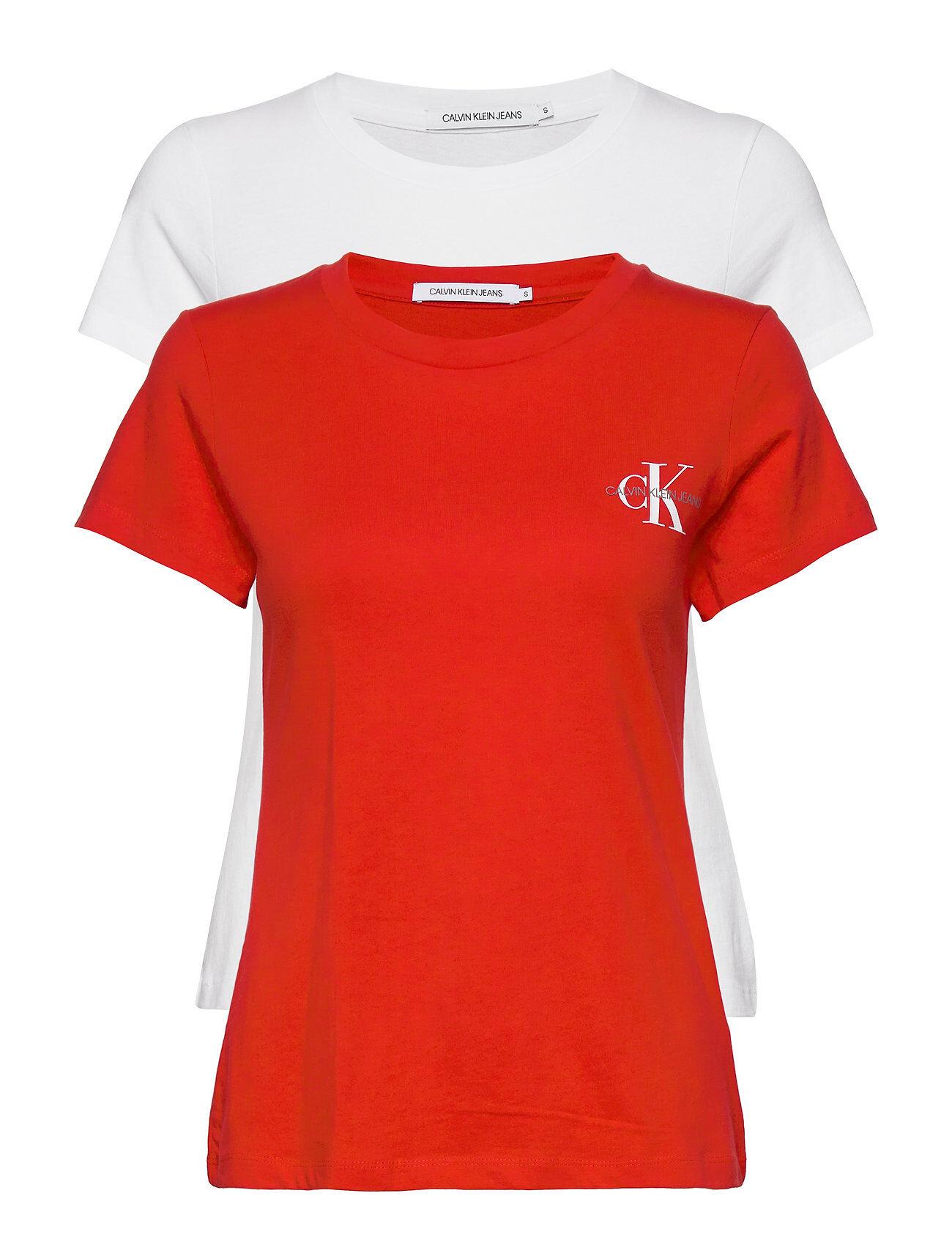 Image of Calvin 2 Pack Slim T-Shirt T-shirts & Tops Short-sleeved Punainen Calvin Klein Jeans