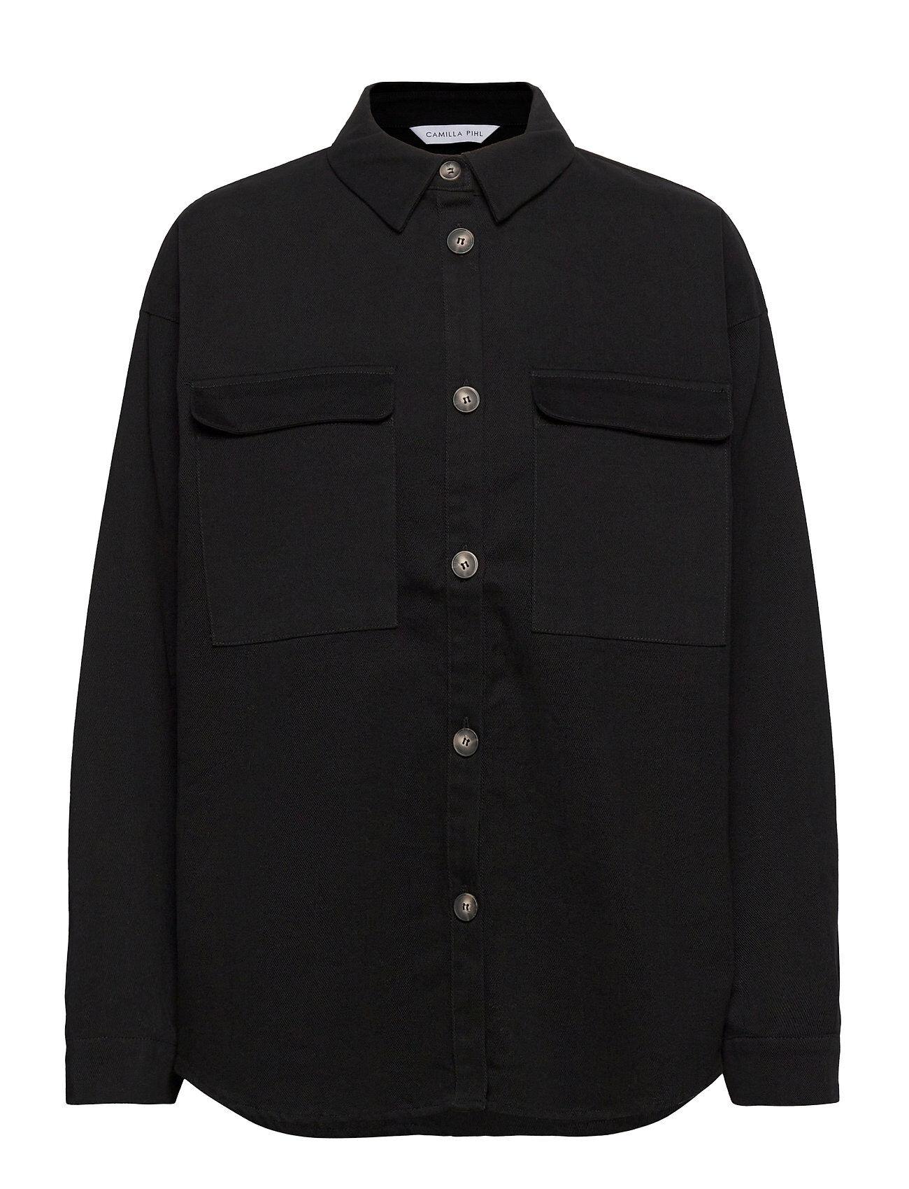 Camilla Pihl Sylvia Shirt Overshirts Musta Camilla Pihl