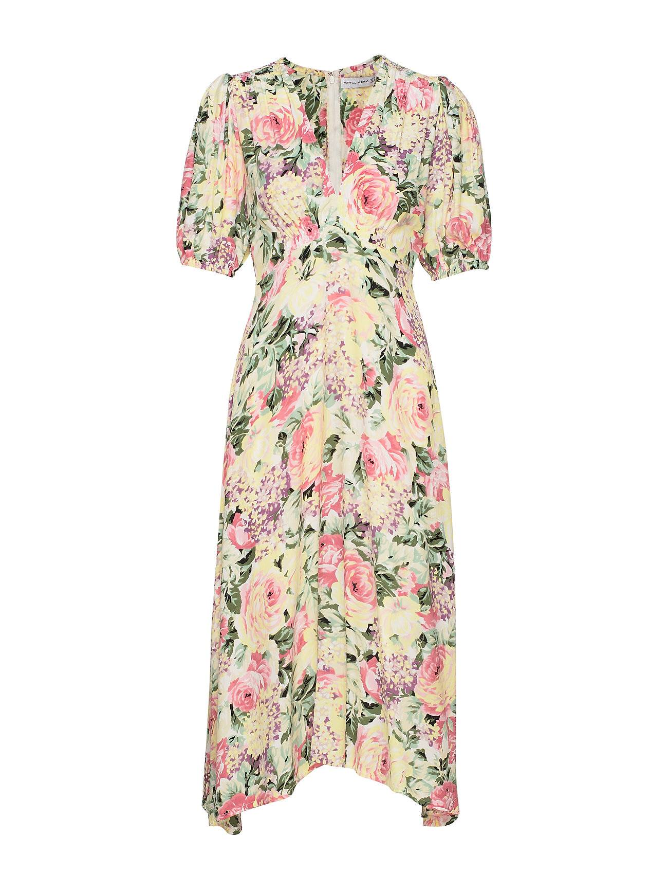 Faithfull The Brand Vittoria Midi Dress Polvipituinen Mekko Vaaleanpunainen Faithfull The Brand