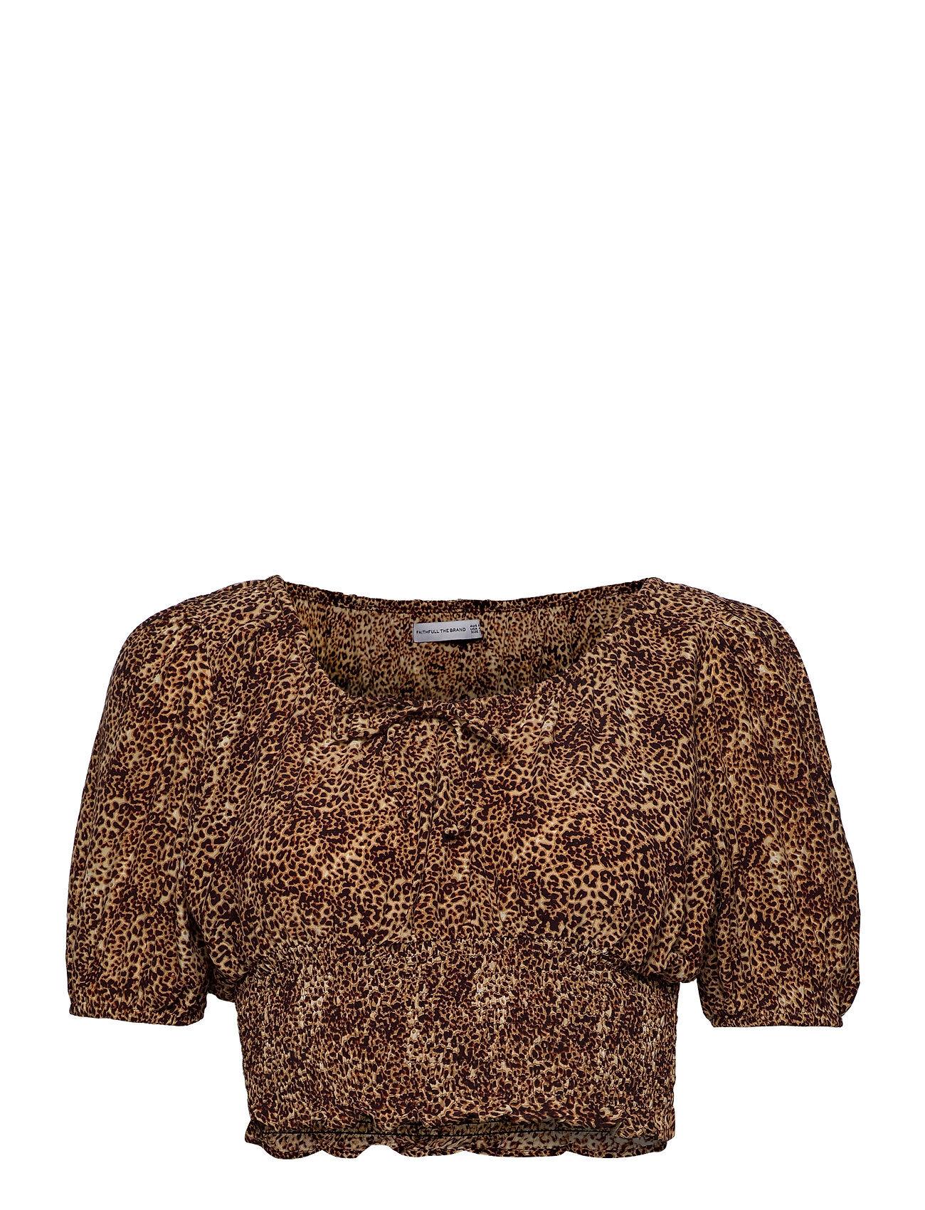 Faithfull The Brand Anne Laure Top Blouses Short-sleeved Ruskea Faithfull The Brand