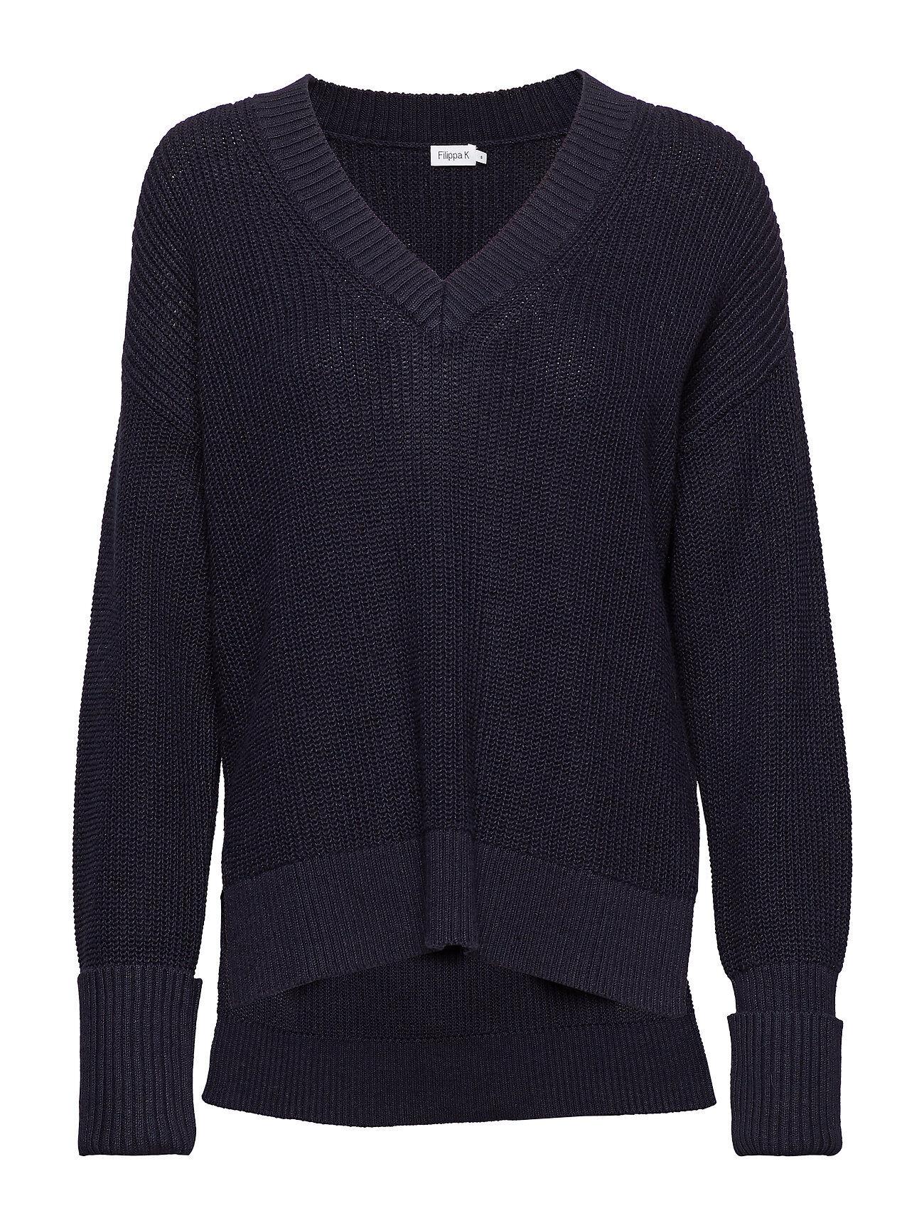 Filippa K Cotton Linen V-Neck Sweater Neulepaita Sininen