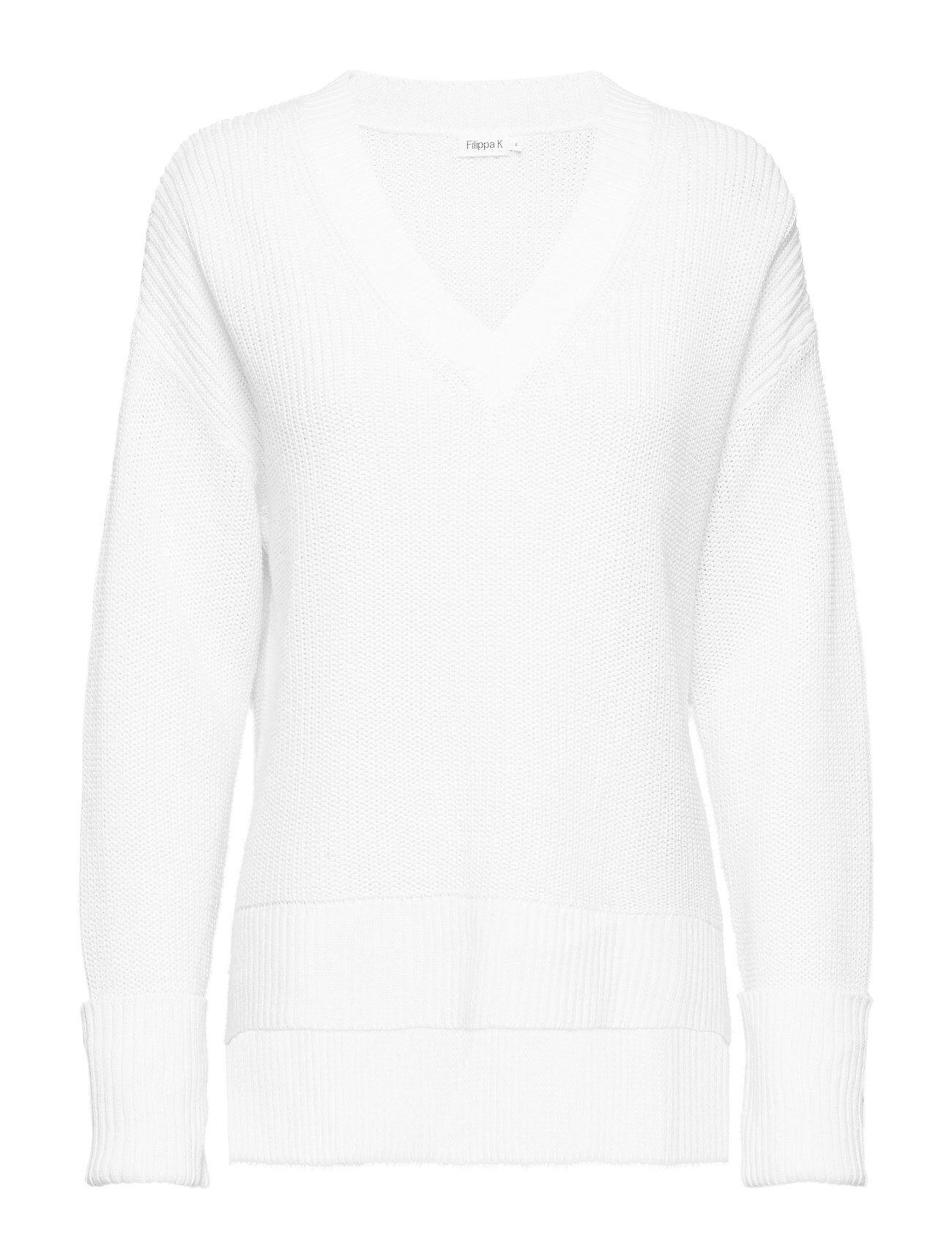 Filippa K Cotton Linen V-Neck Sweater Neulepaita Valkoinen