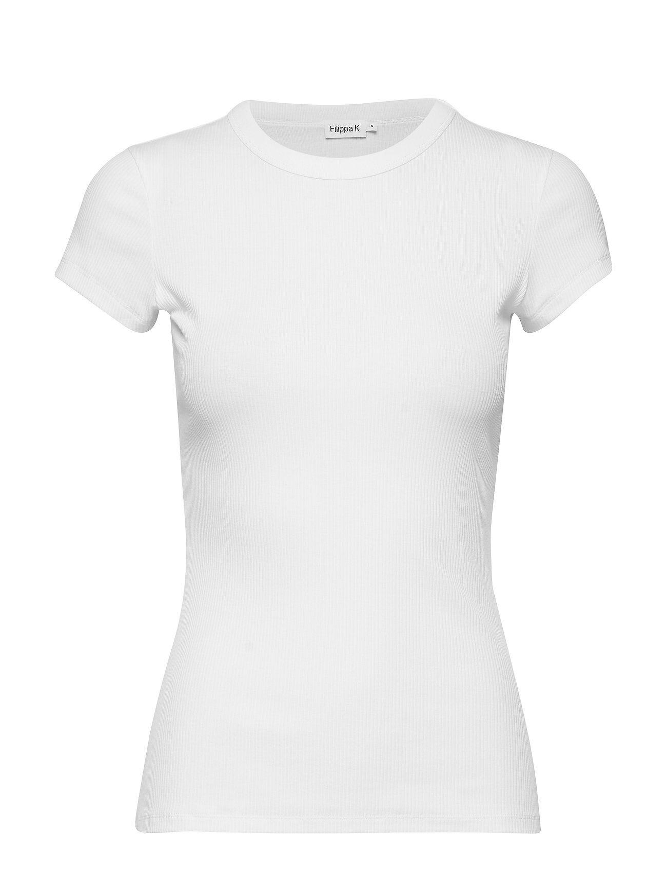 Filippa K Fine Rib Tee T-shirts & Tops Short-sleeved Valkoinen Filippa K