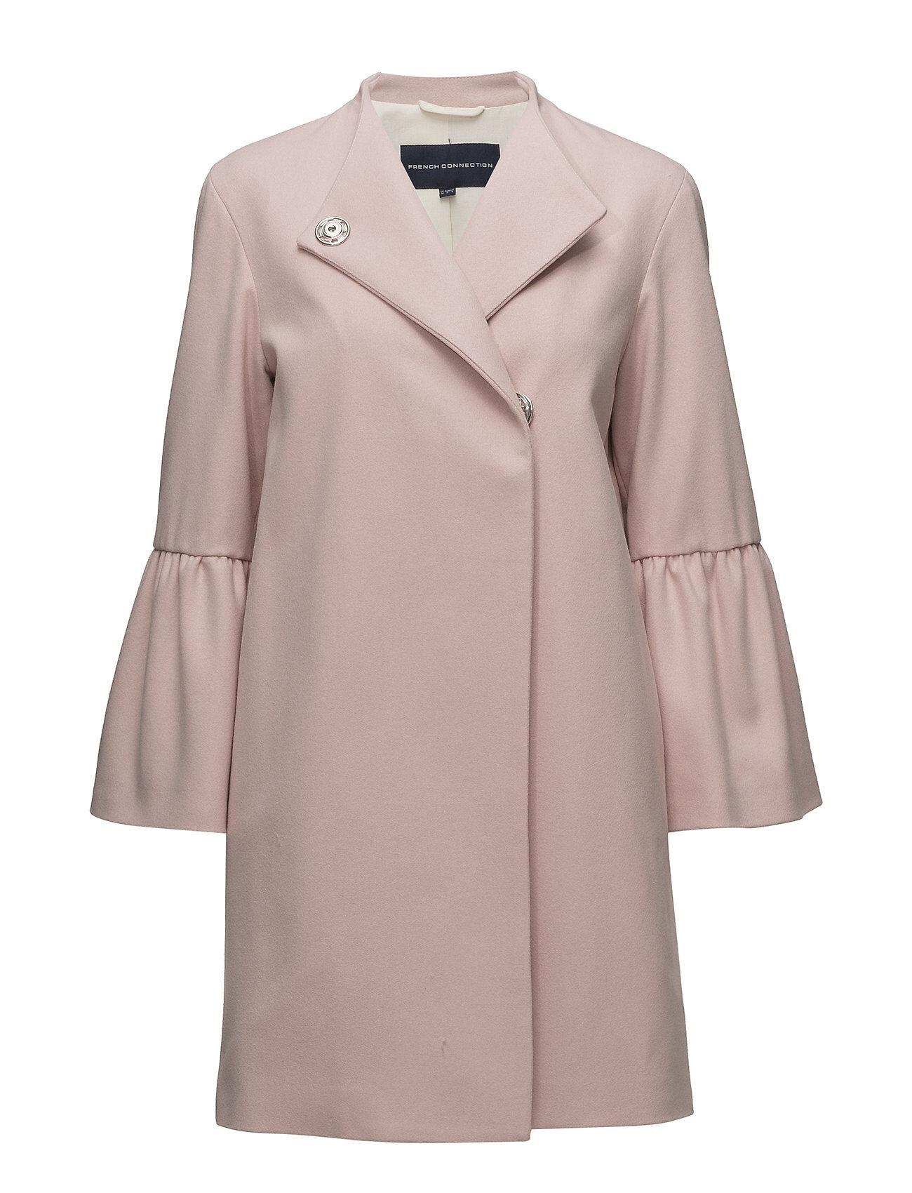 French Connection Platform Felt Bell Sleeve Coat Villakangastakki Pitkä Takki Vaaleanpunainen