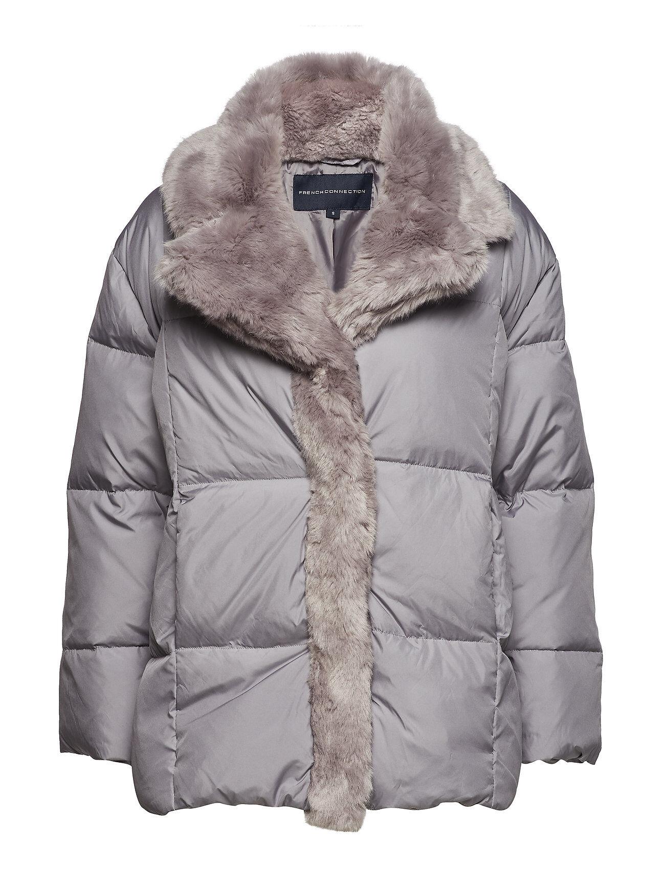 French Connection Devon Quilt Fur Trim Wrap Coat