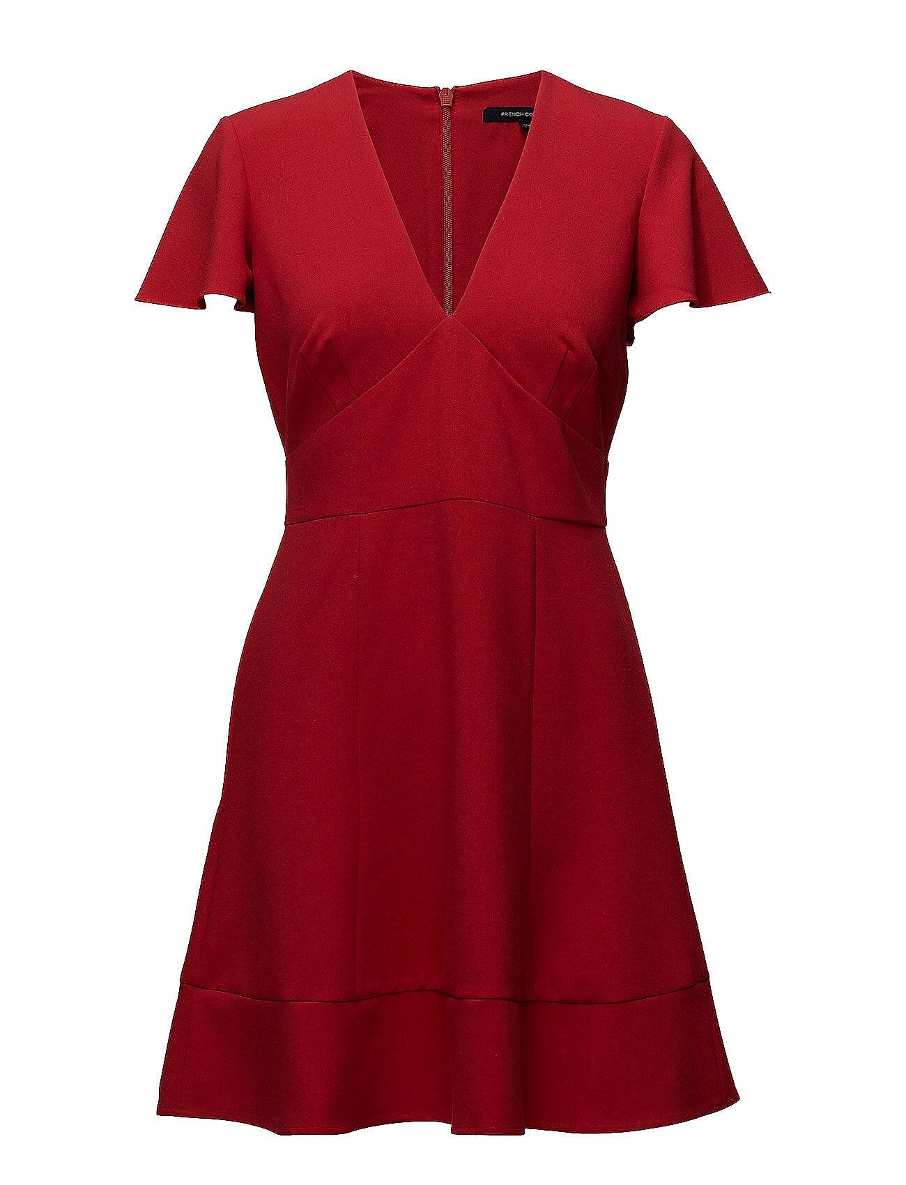 French Connection Whisper Ruth Short Sleeve V-Neck Flared Dress