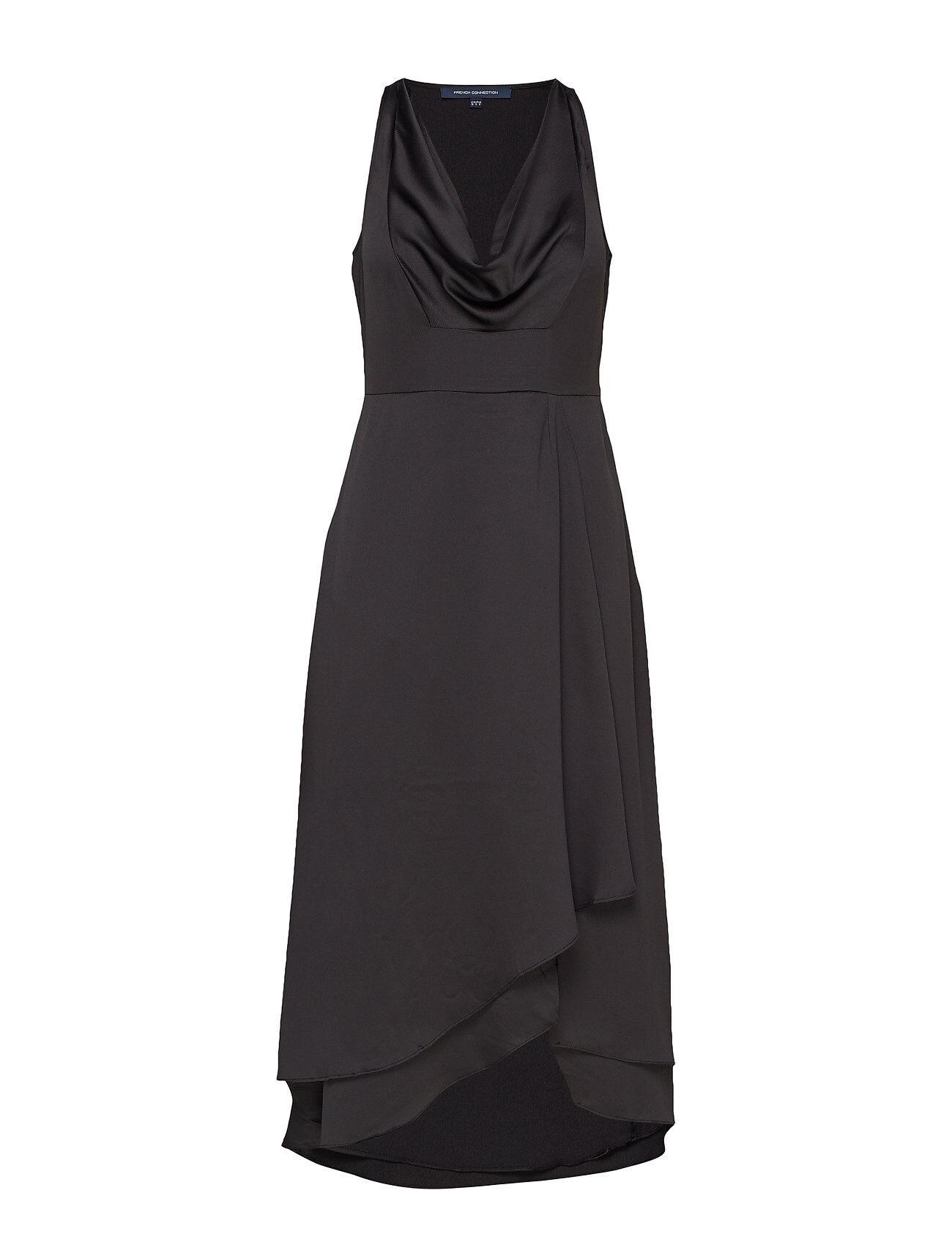 French Connection Alessia Satin Cowl Neck Dress Polvipituinen Mekko Musta
