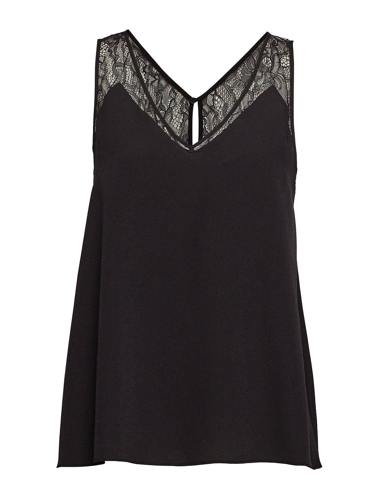French Connection Crepe Light Lace Trim Vest Hihaton Pusero Paita Musta French Connection