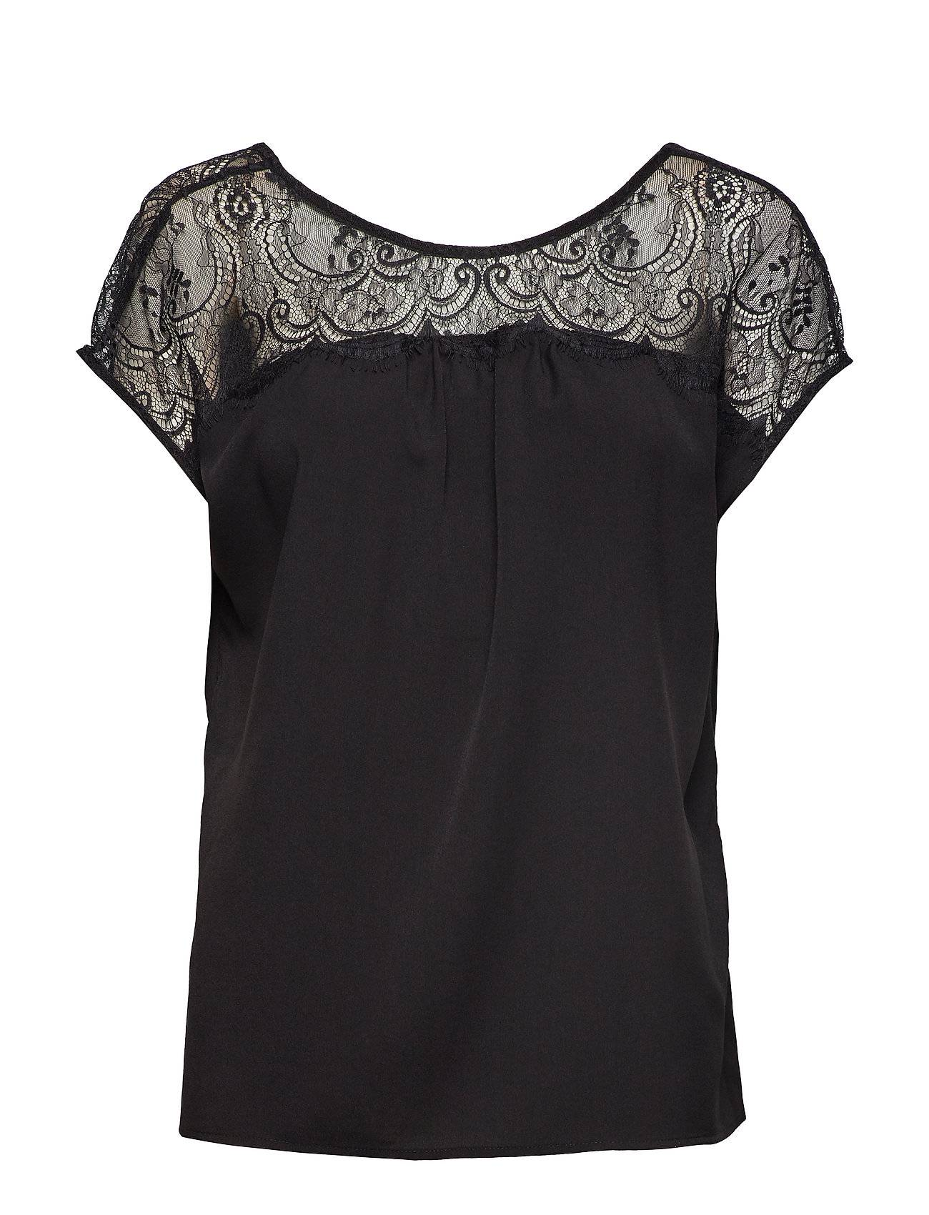 French Connection Crepe Lght Sld Lace Mix V Back Blouses Short-sleeved Musta