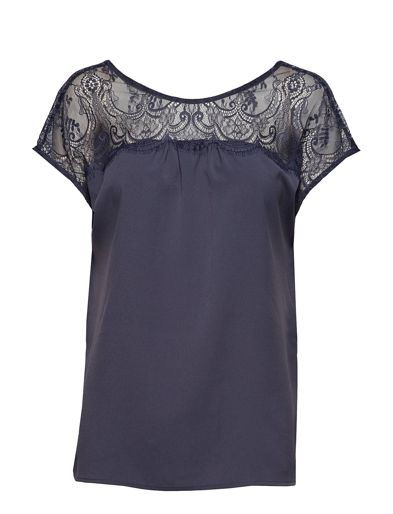 French Connection Crepe Lght Sld Lace Mix V Back Blouses Short-sleeved Sininen