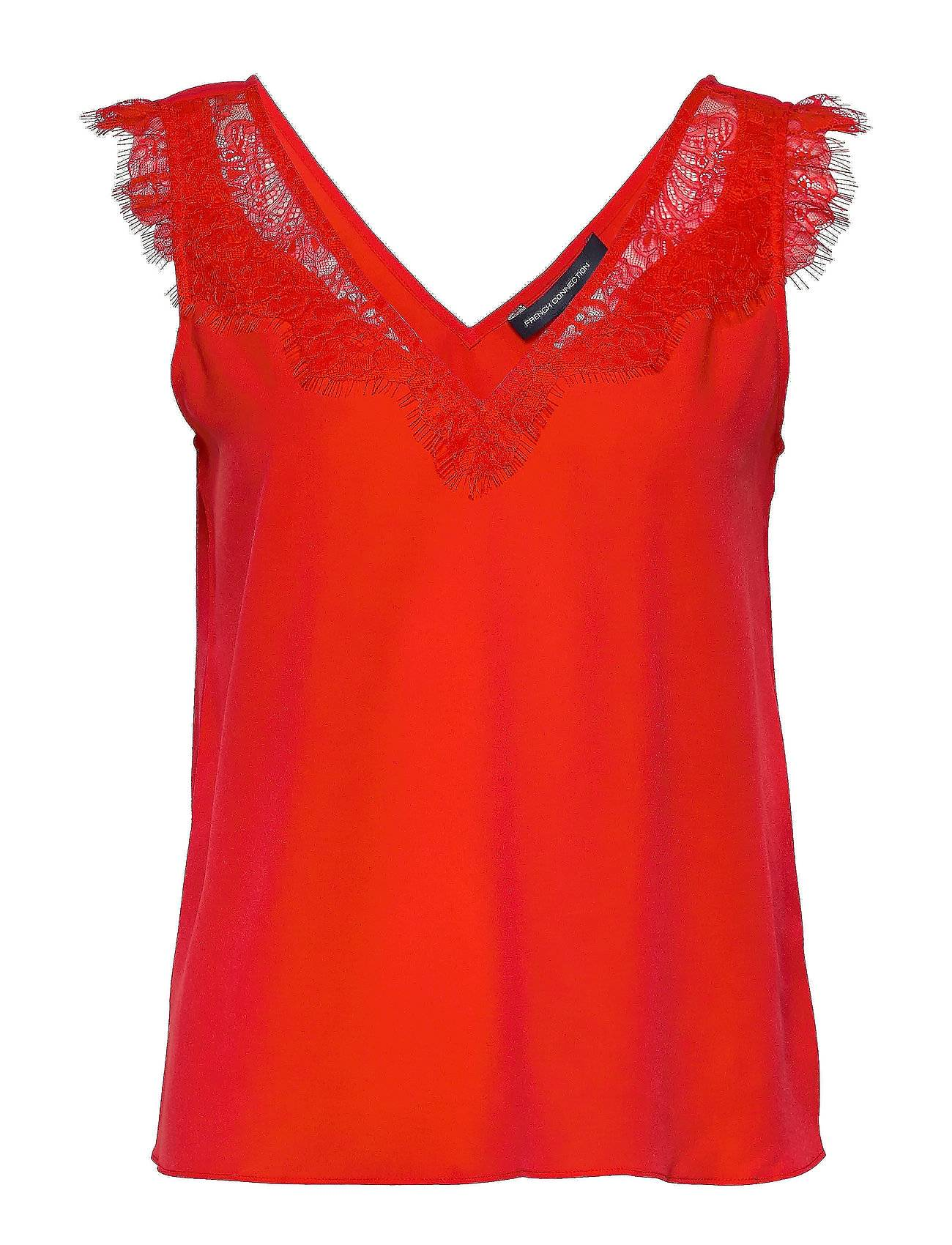 French Connection Chioma Light Lace Top T-shirts & Tops Sleeveless Punainen French Connection