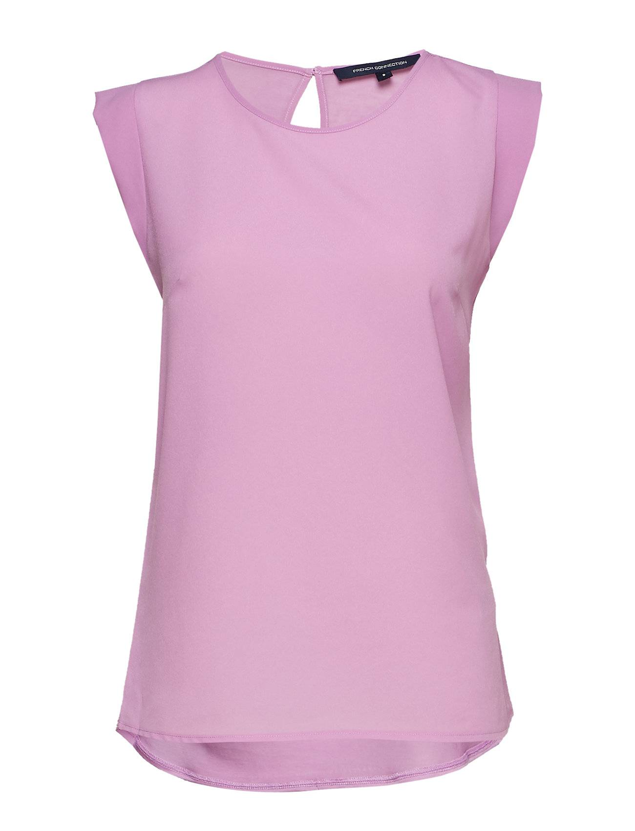 French Connection Crepe Light Solid Jersey Cap Sleeve Top