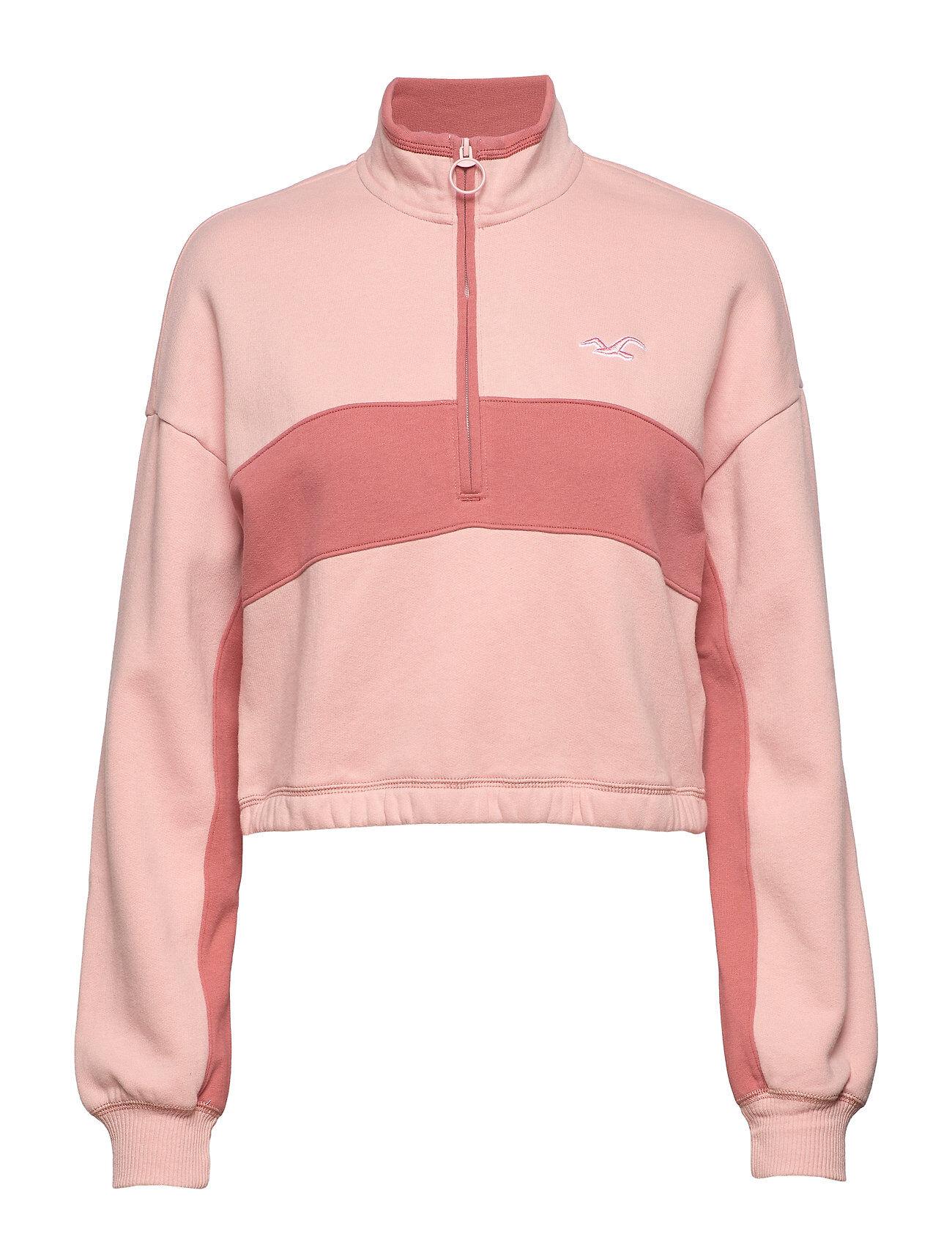 Hollister Ultra Crop Fleece Half Zip Svetari Collegepaita Vaaleanpunainen Hollister