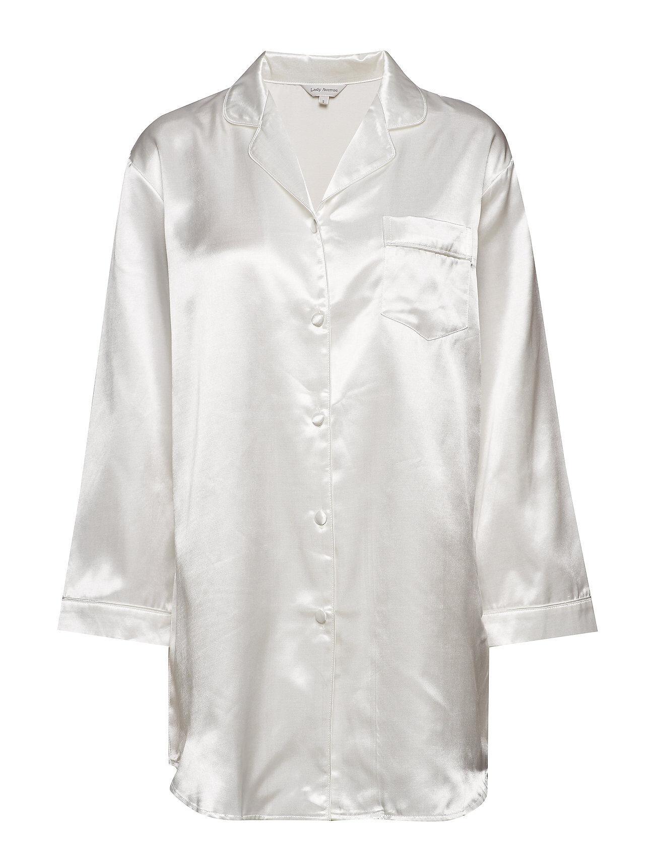Lady Avenue Satin Long Sleeve Nightshirt