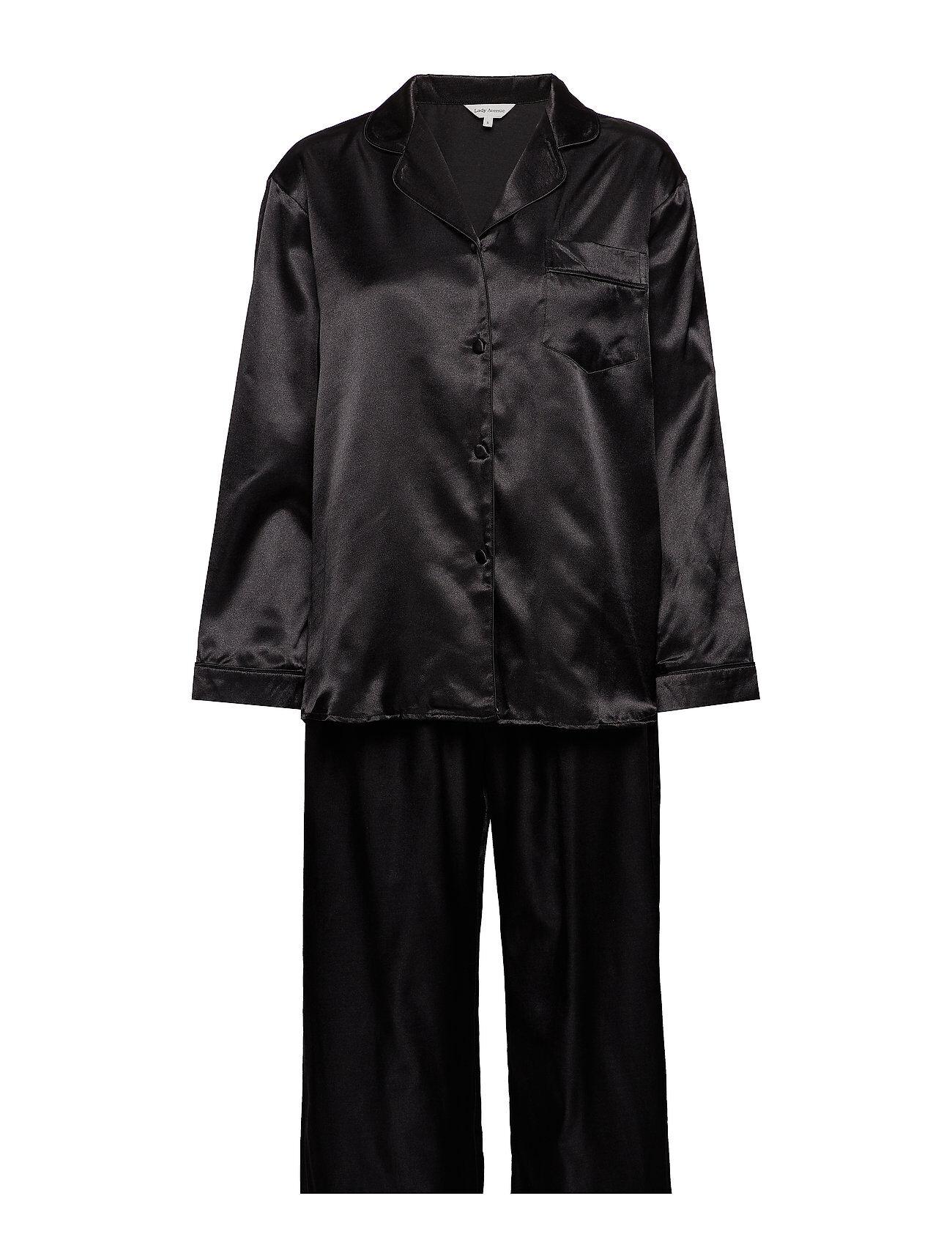 Lady Avenue Satin Long Sleeve Pyjamas