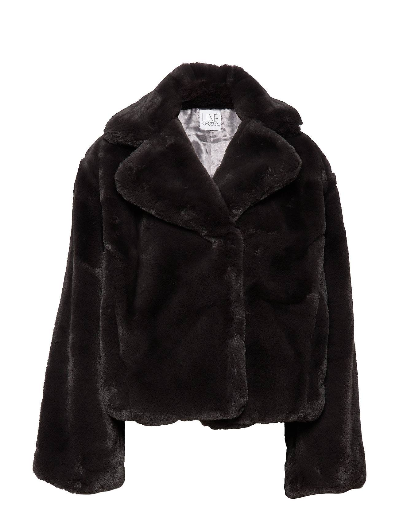 Line of Oslo Beyonce Solid Outerwear Faux Fur Musta Line Of Oslo