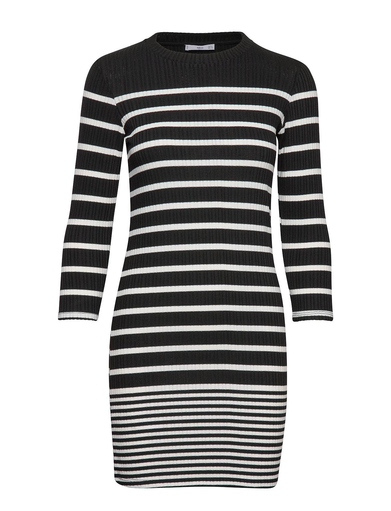 Image of Mango Ribbed Jersey Dress Lyhyt Mekko Musta Mango