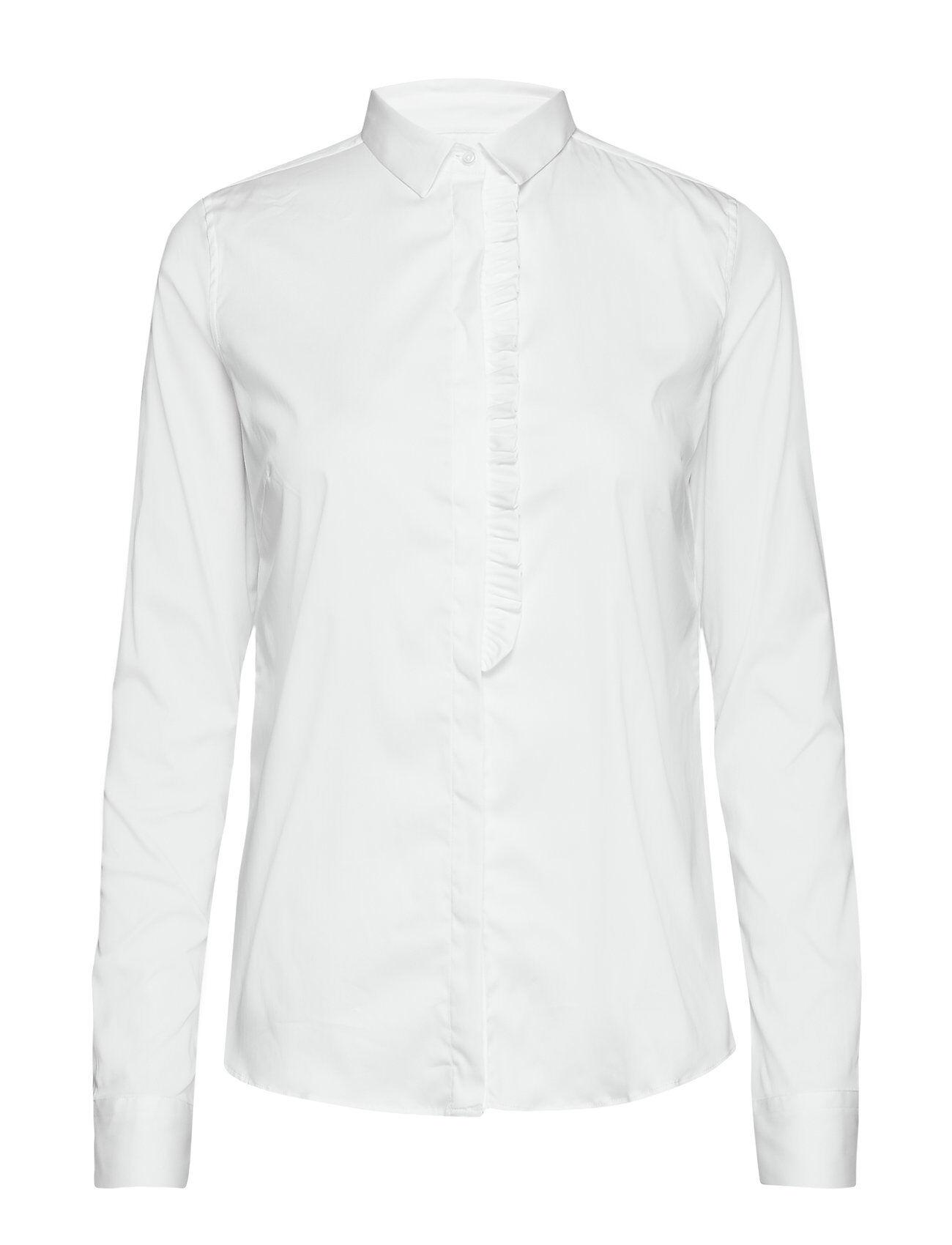 MOS MOSH Tilda Frill Shirt Pitkähihainen Paita Valkoinen