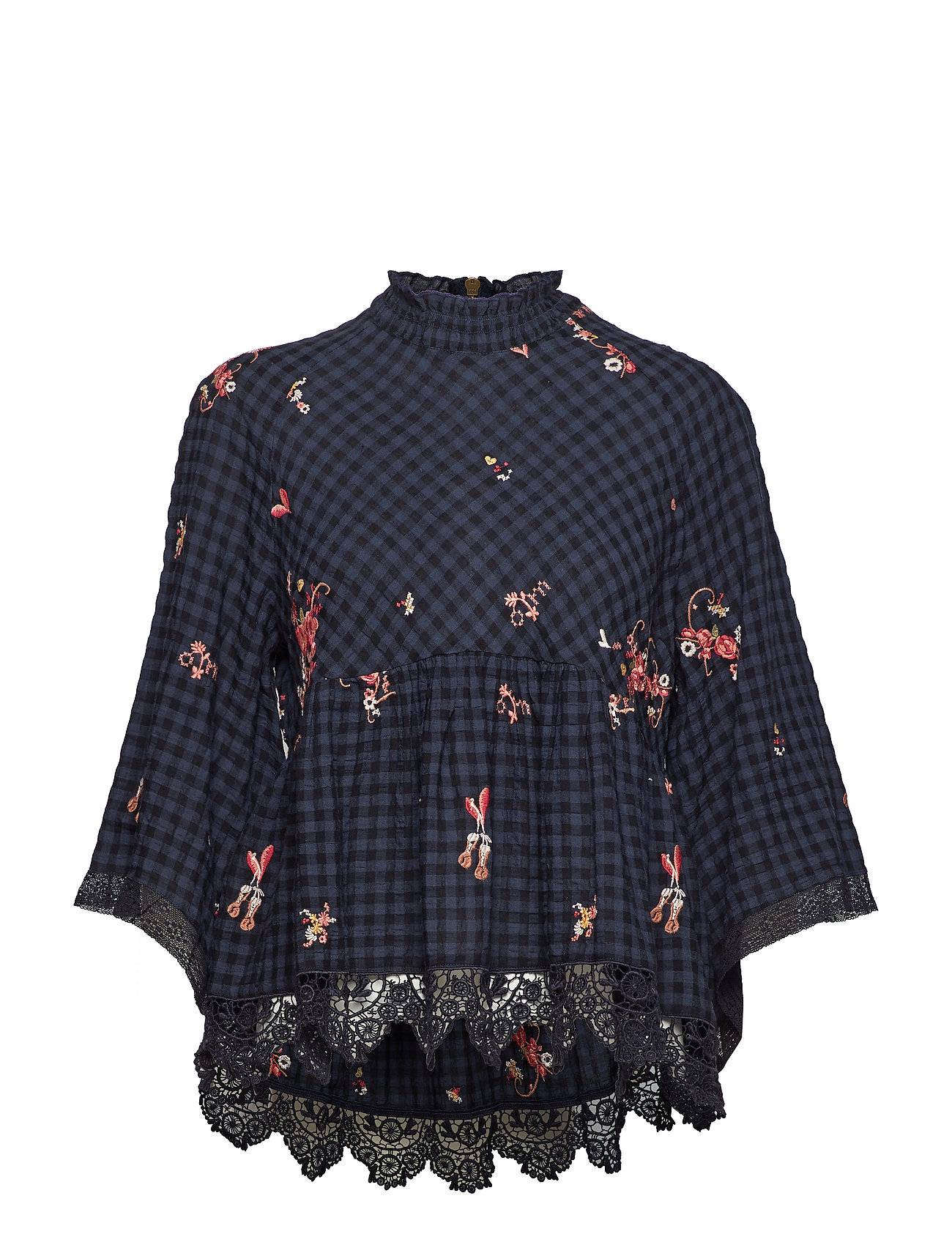 Image of ODD MOLLY Embroidered Space Roses Blouse Pitkähihainen Pusero Paita Sininen ODD MOLLY