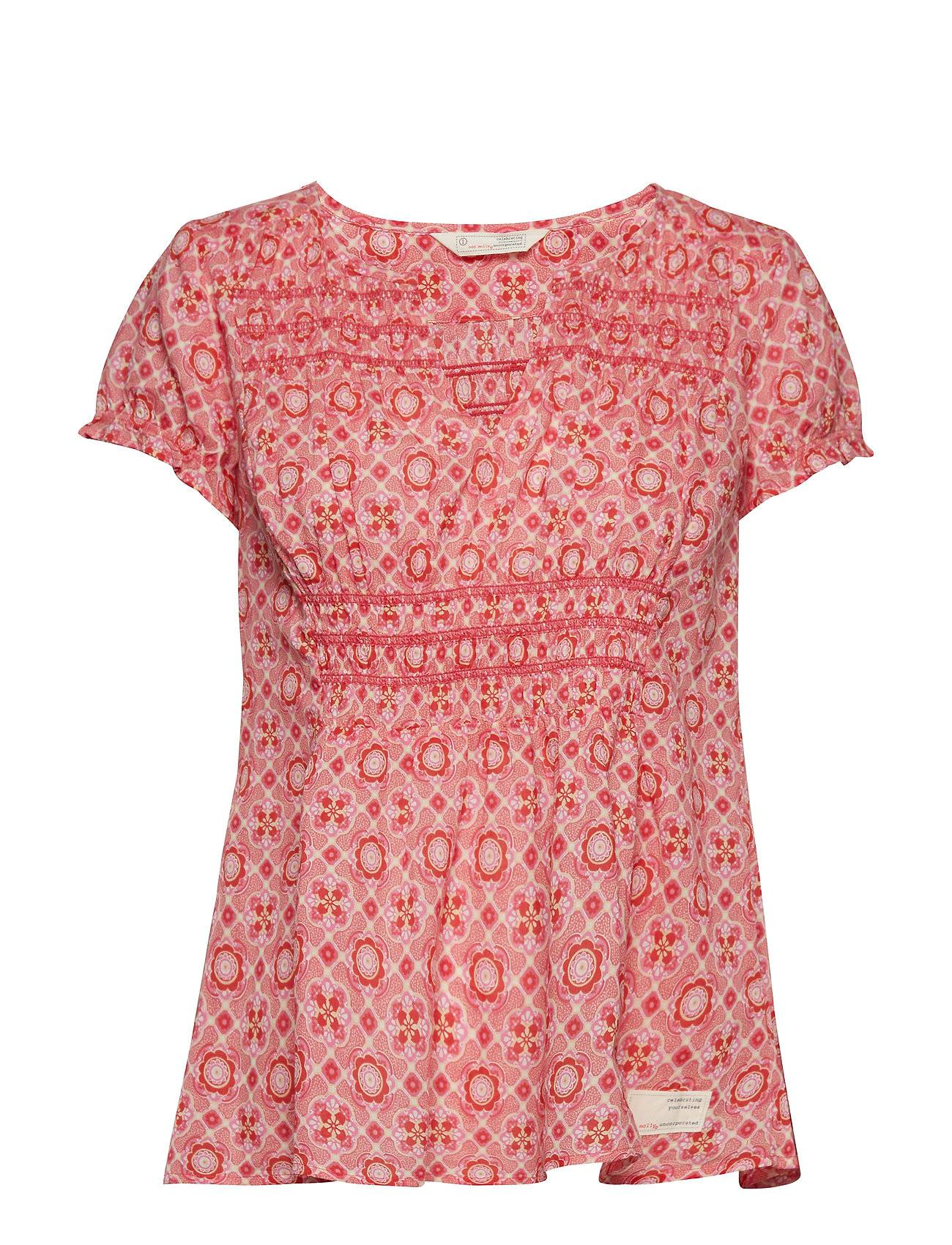 Image of ODD MOLLY Facile Flower Blouse T-shirts & Tops Short-sleeved Vaaleanpunainen ODD MOLLY