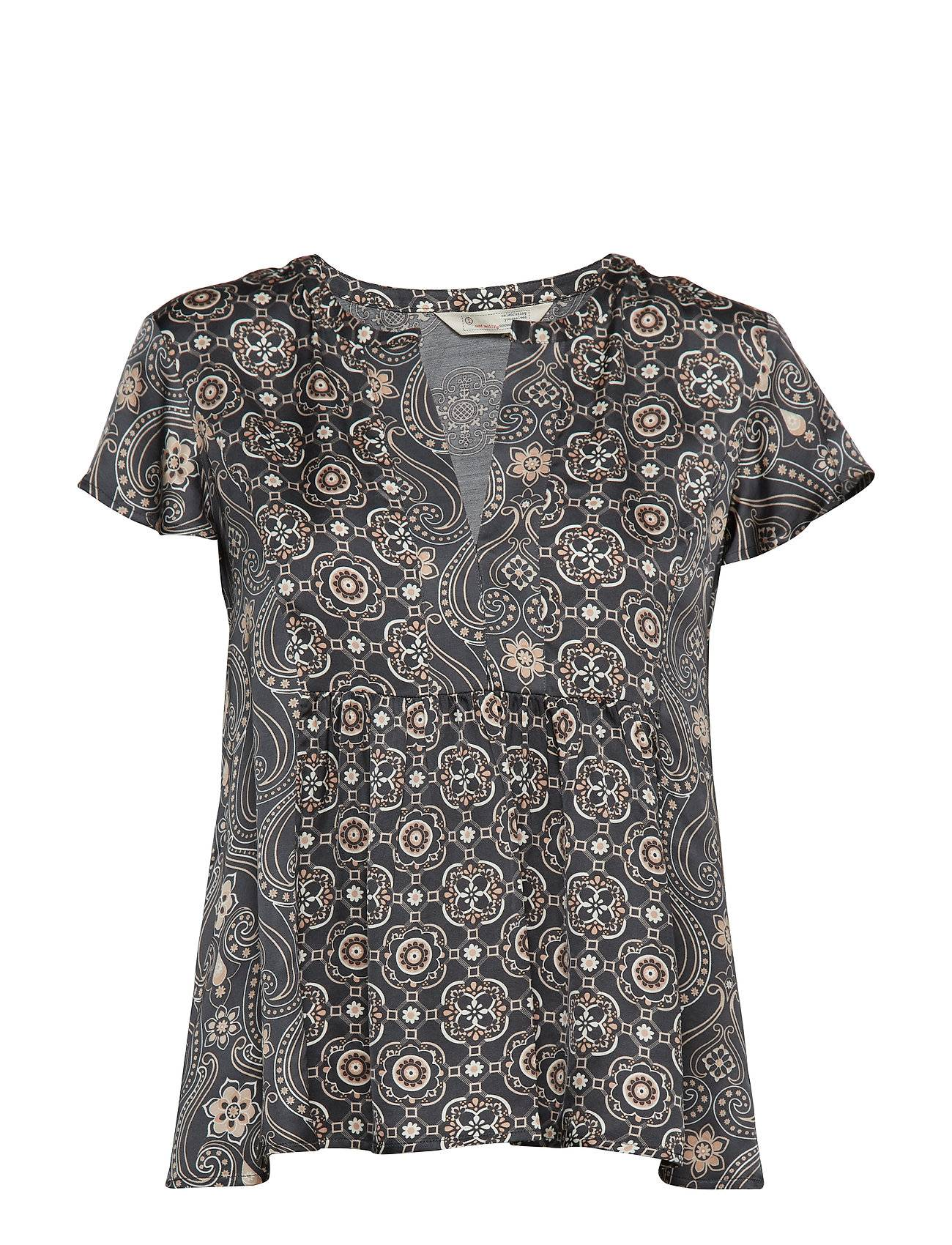 Image of ODD MOLLY Funky Belle Blouse Blouses Short-sleeved Musta ODD MOLLY