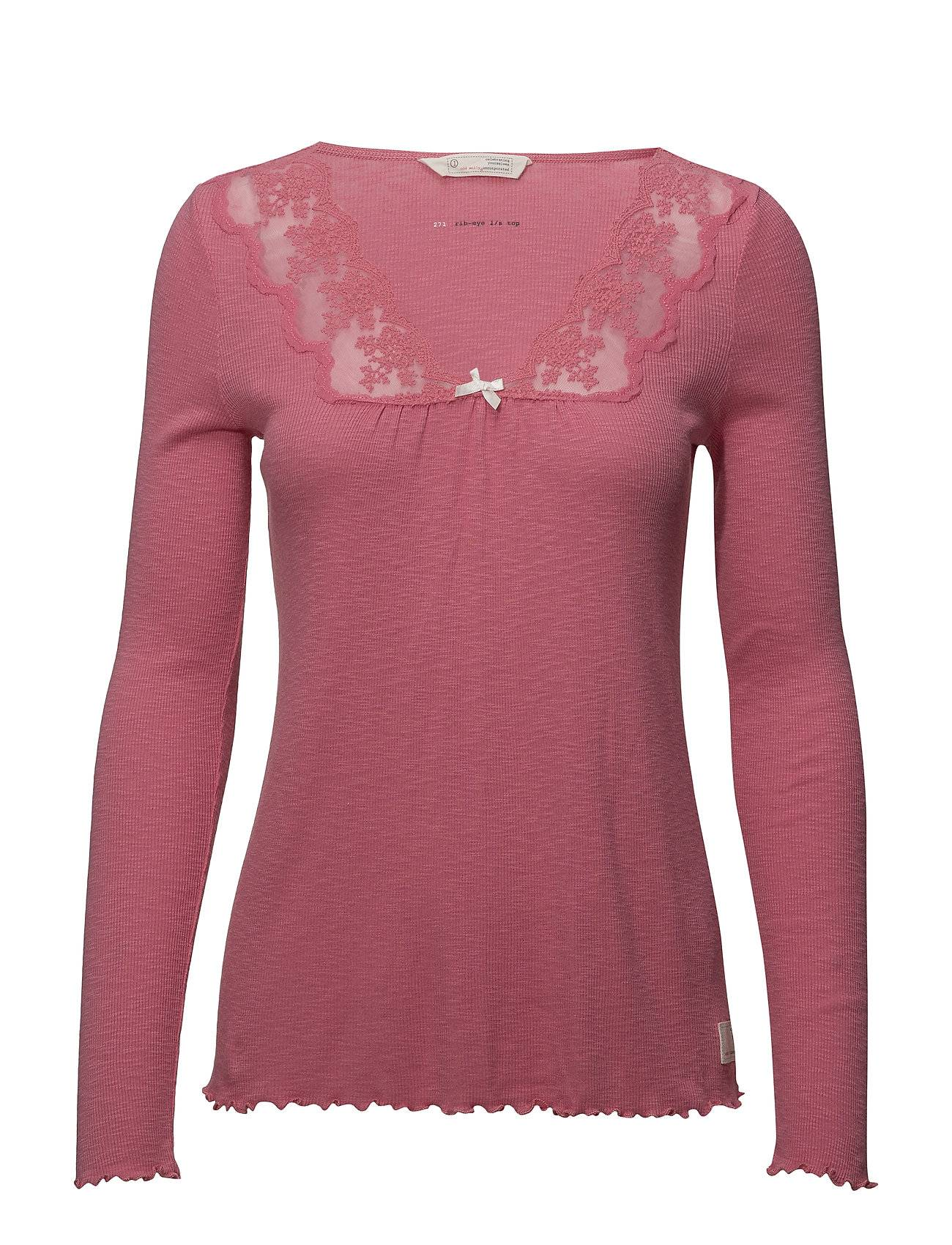 Image of ODD MOLLY Rib-Eye L/S Top T-shirts & Tops Long-sleeved Vaaleanpunainen ODD MOLLY