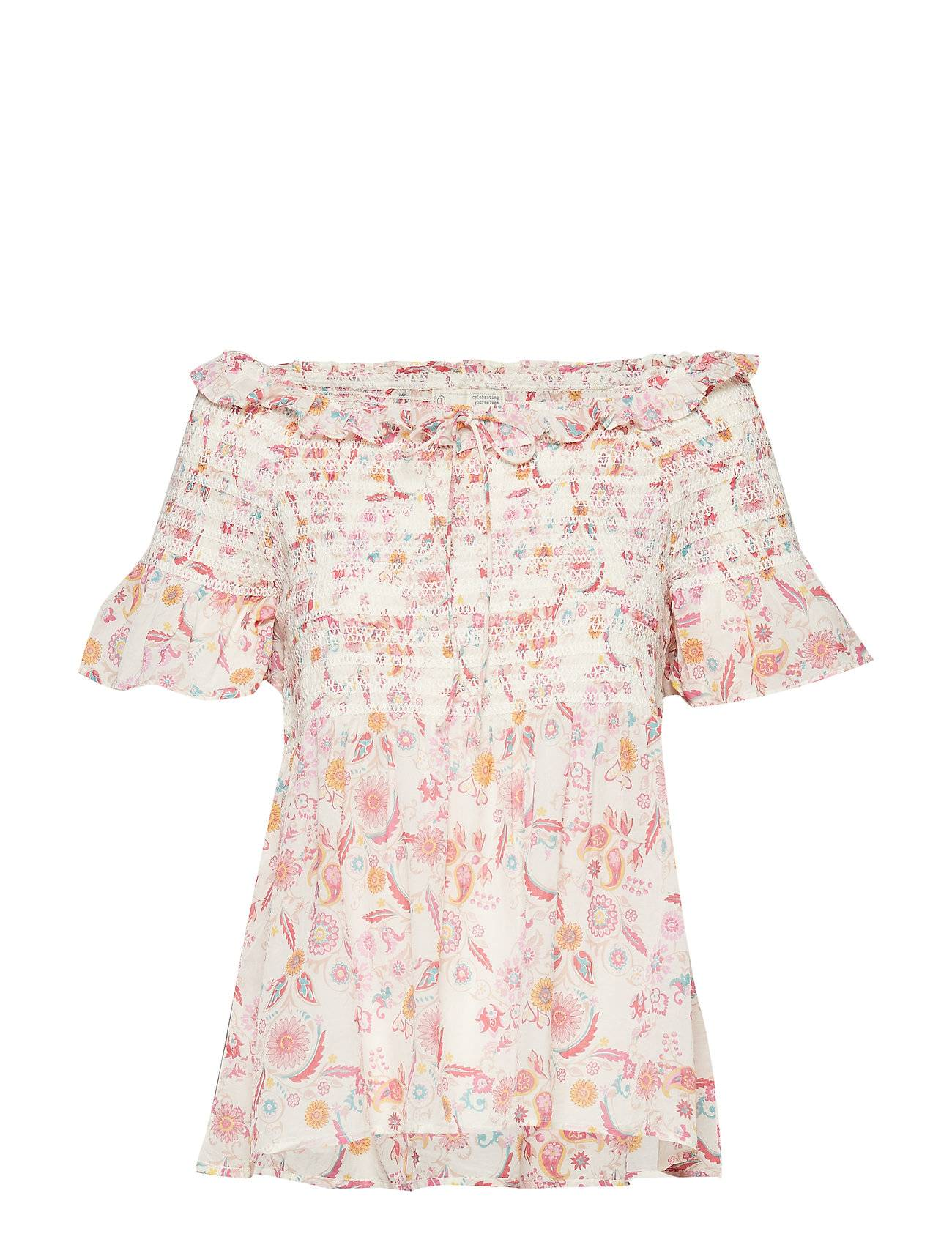 Image of ODD MOLLY Majestic Blouse Blouses Short-sleeved Vaaleanpunainen ODD MOLLY