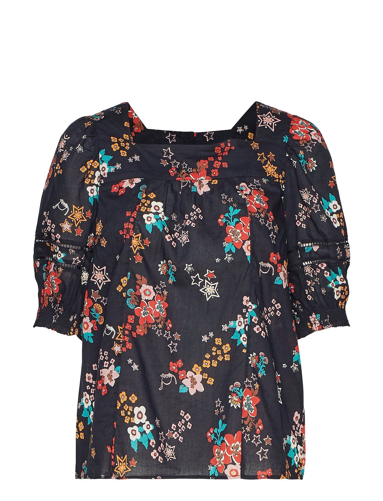 Image of ODD MOLLY Marvelously Free Blouse Blouses Short-sleeved Musta ODD MOLLY