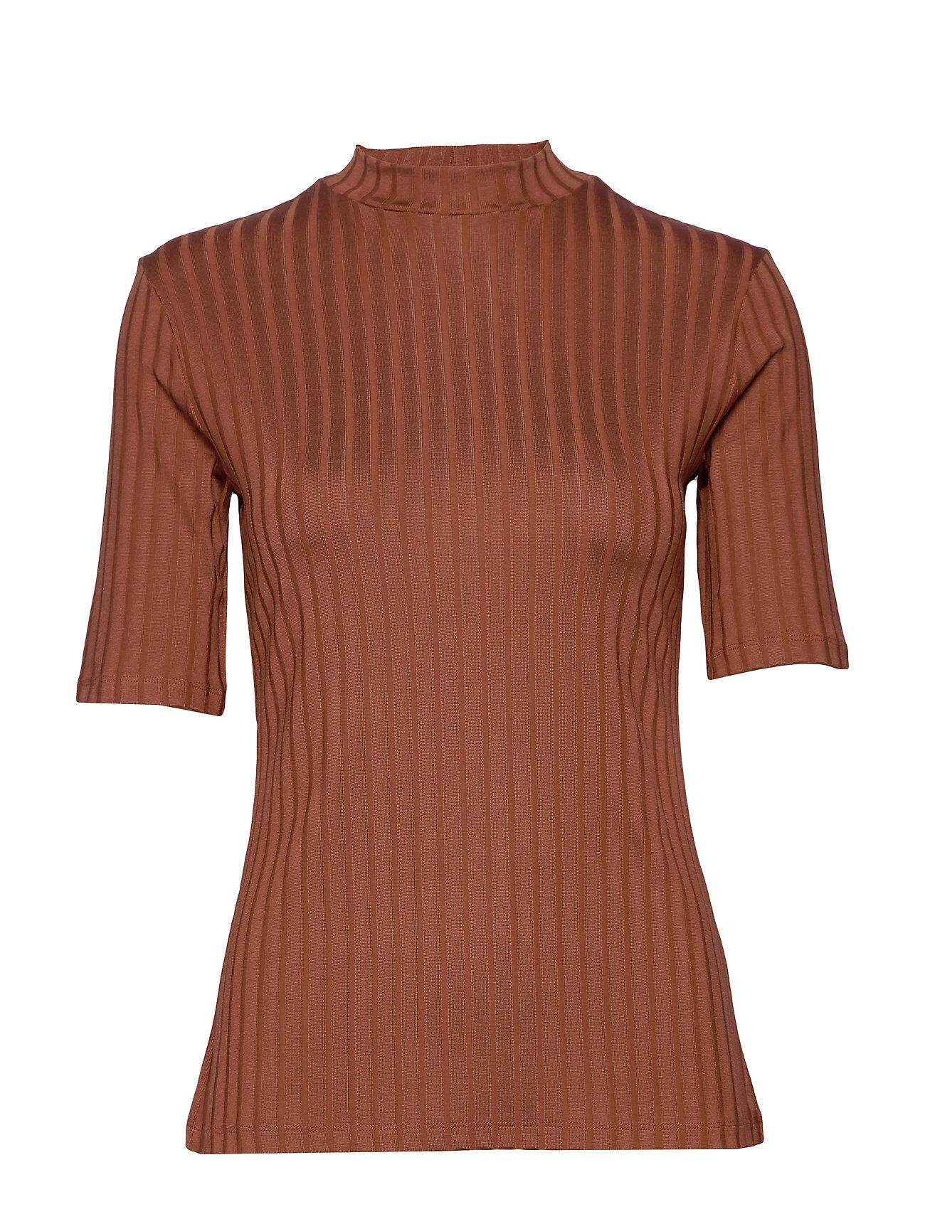 Residus Moss Rib Top T-shirts & Tops Short-sleeved Ruskea Residus