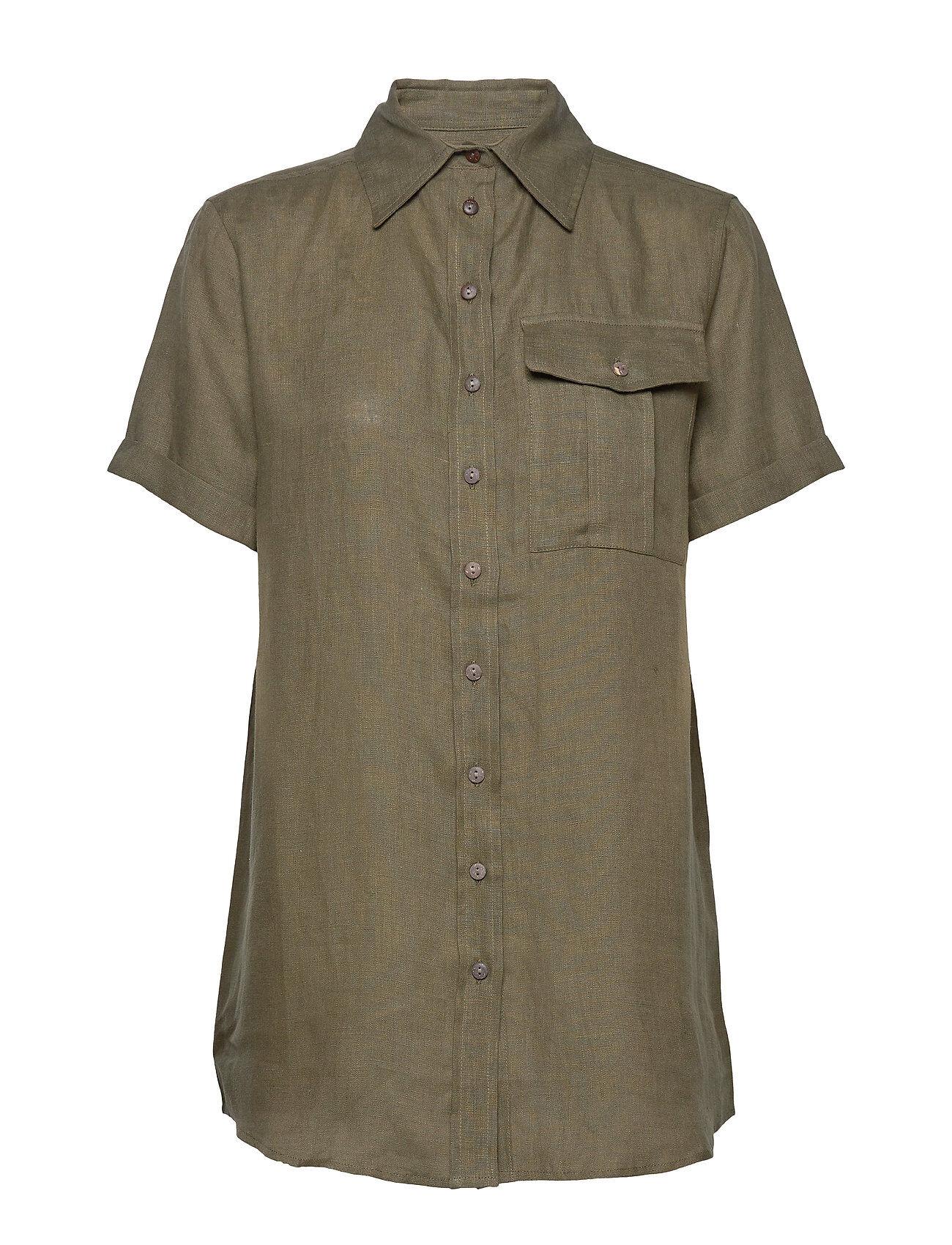 Residus Pine Linen Shirt Lyhythihainen Paita Vihreä Residus