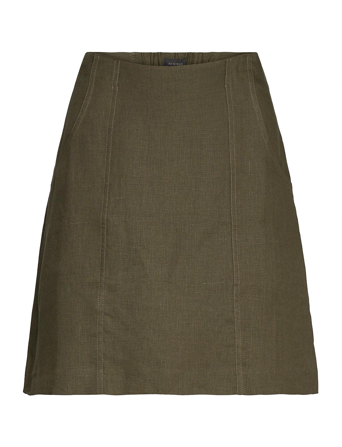 Residus Oak Linen Skirt Lyhyt Hame Vihreä Residus