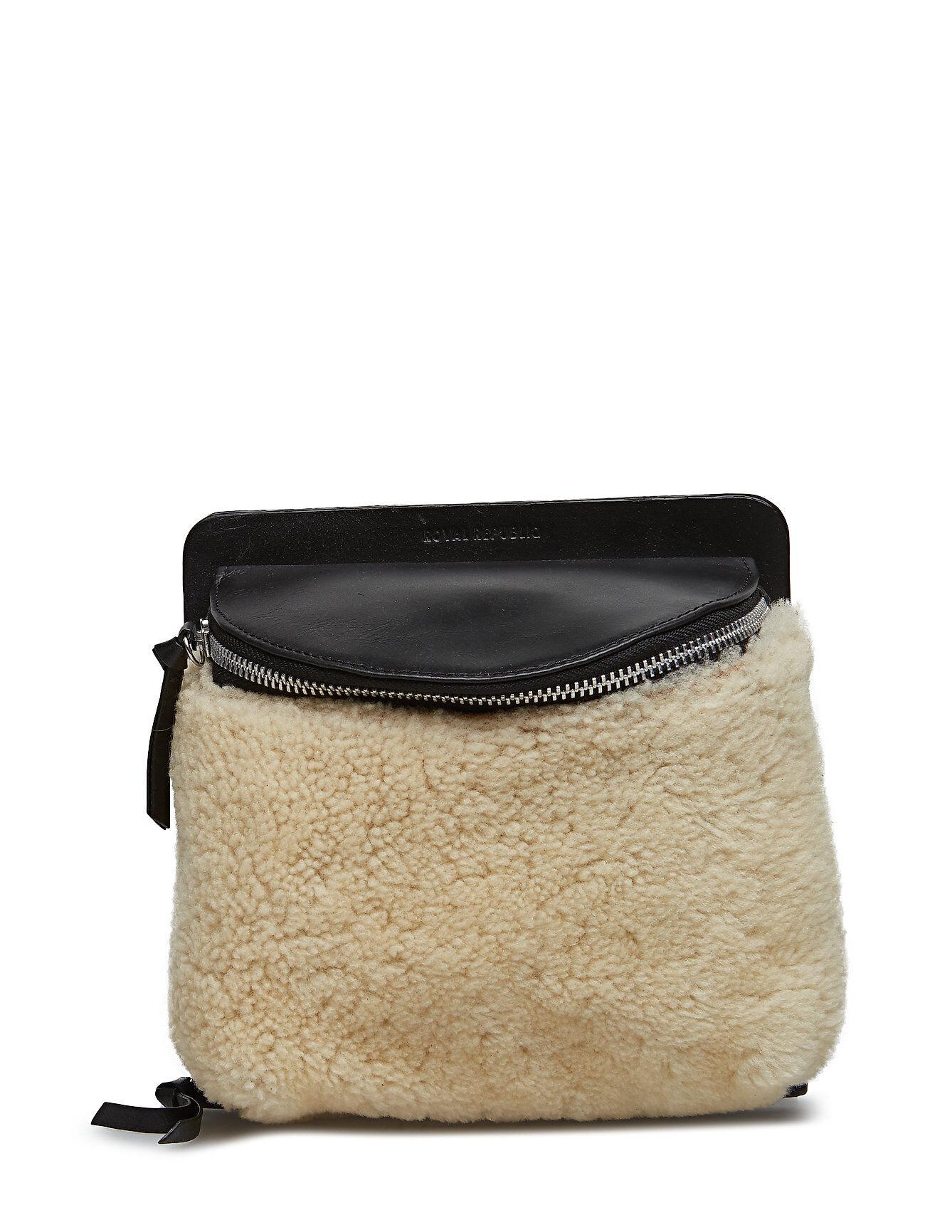 Royal RepubliQ Vertigo Shearling Evening Bag Natural