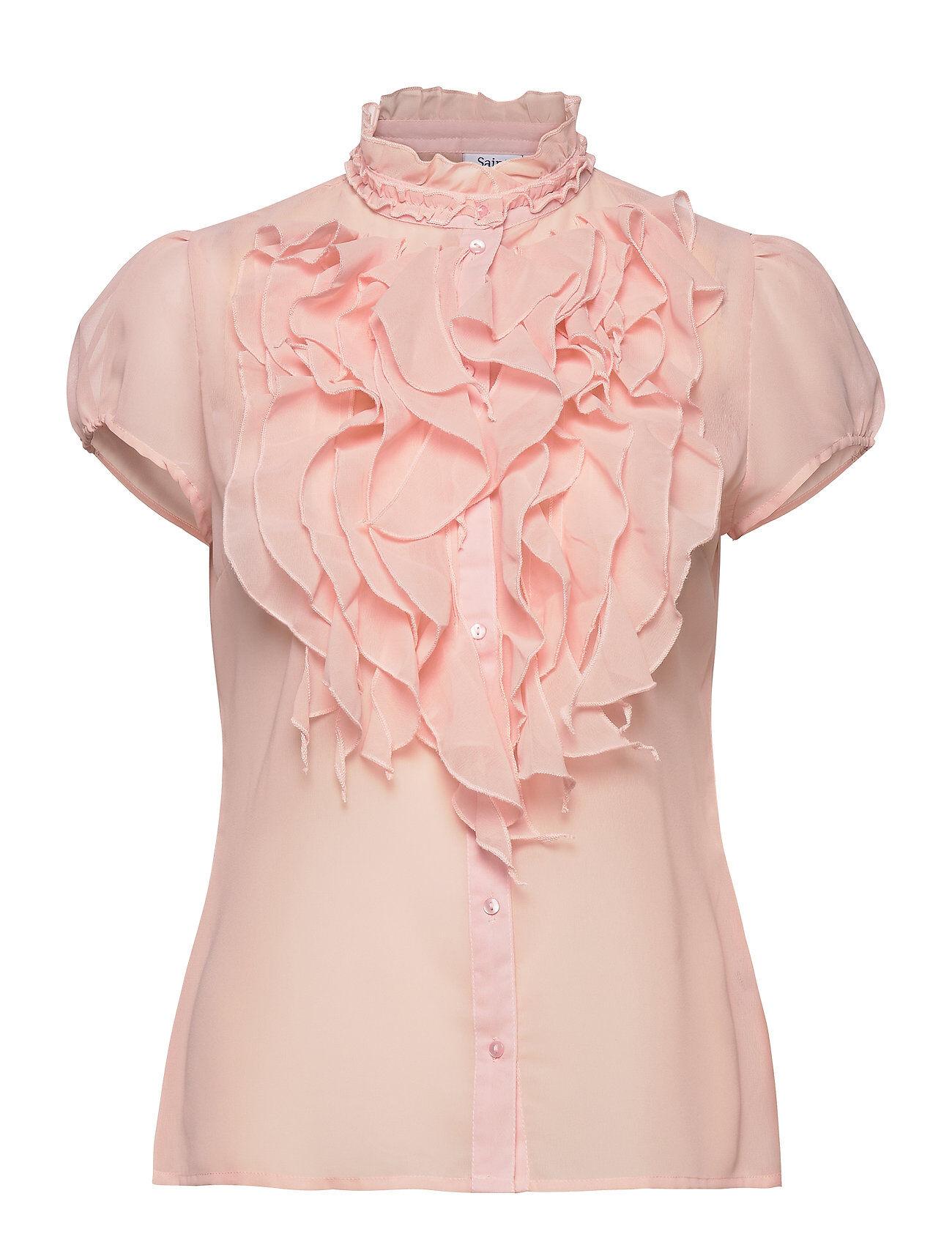 Saint Tropez Lillysz Ss Shirt Blouses Short-sleeved Vaaleanpunainen Saint Tropez