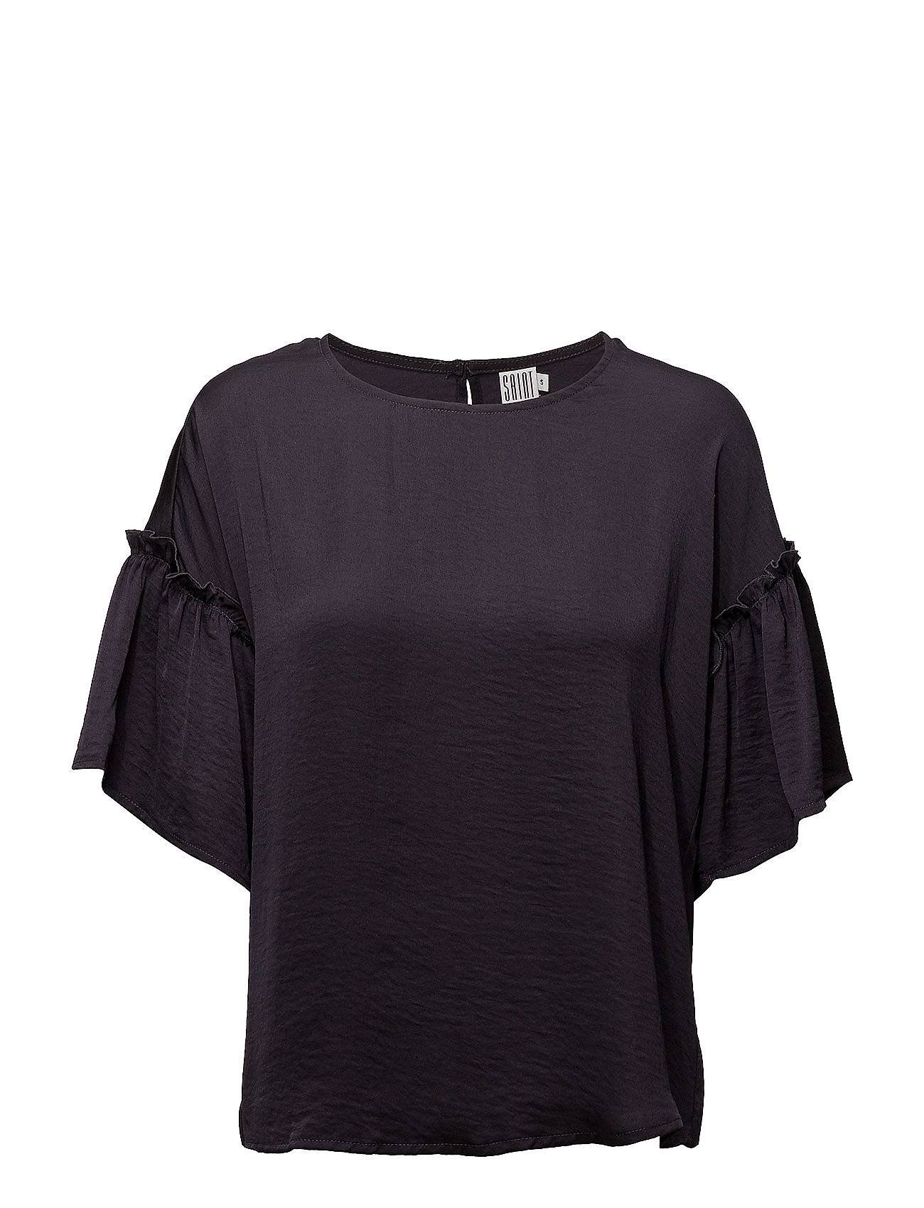 Saint Tropez Blouse With Ruffle Sleeve Blouses Short-sleeved Musta Saint Tropez