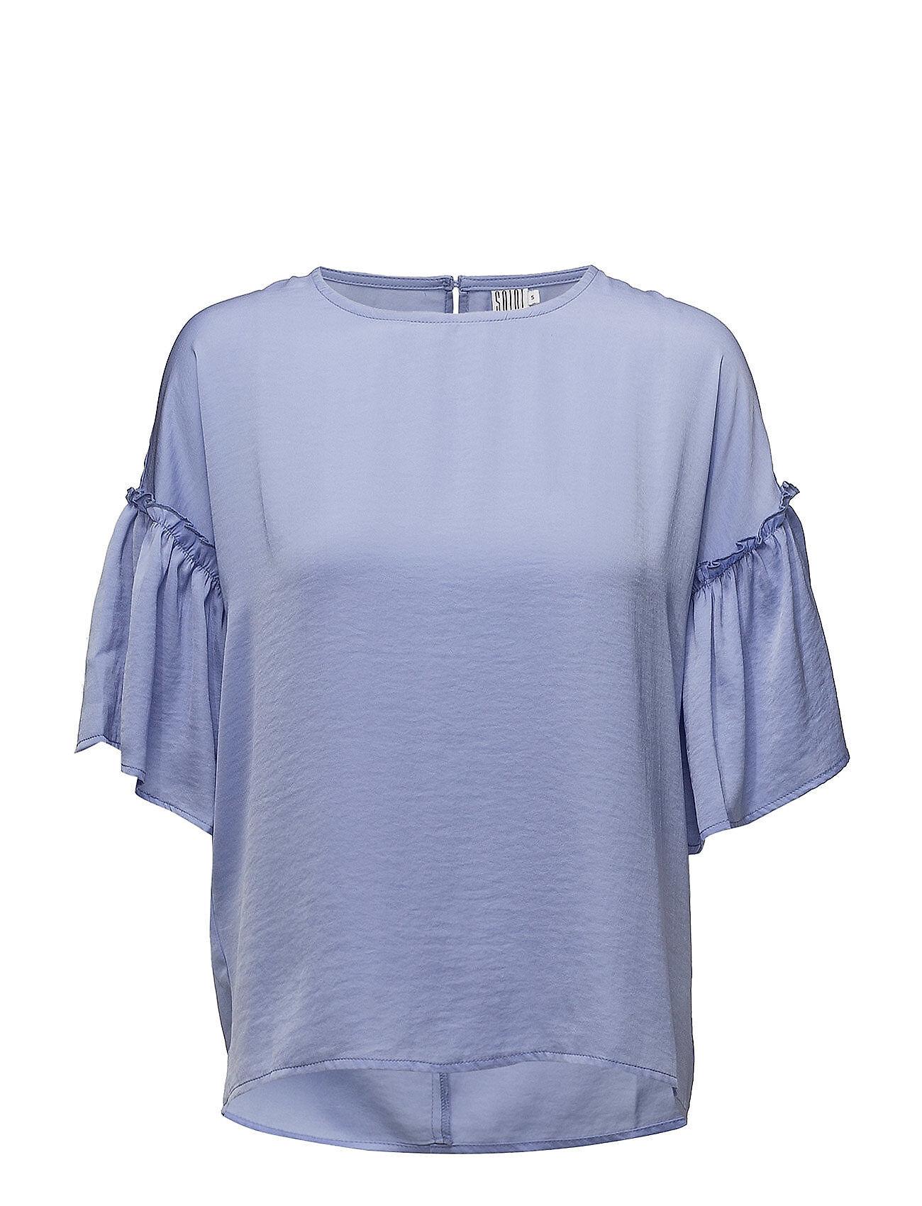 Saint Tropez Blouse With Ruffle Sleeve Blouses Short-sleeved Sininen Saint Tropez