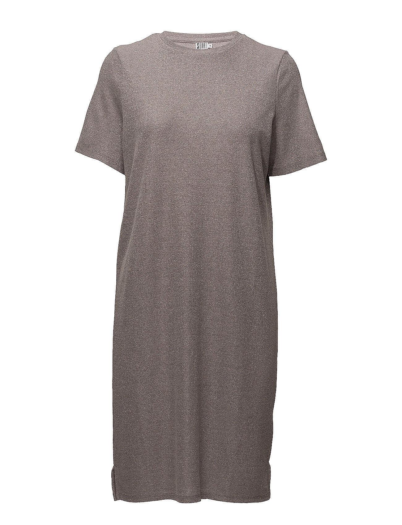 Saint Tropez Shimmer Knit Dress W. Slits Lyhyt Mekko Harmaa Saint Tropez
