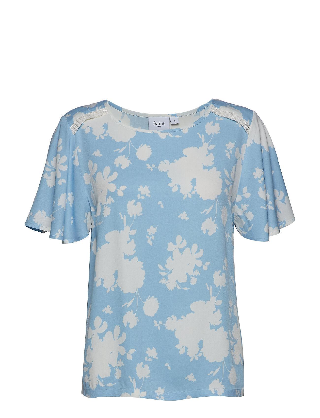 Saint Tropez Candy Flower P Top Blouses Short-sleeved Sininen Saint Tropez