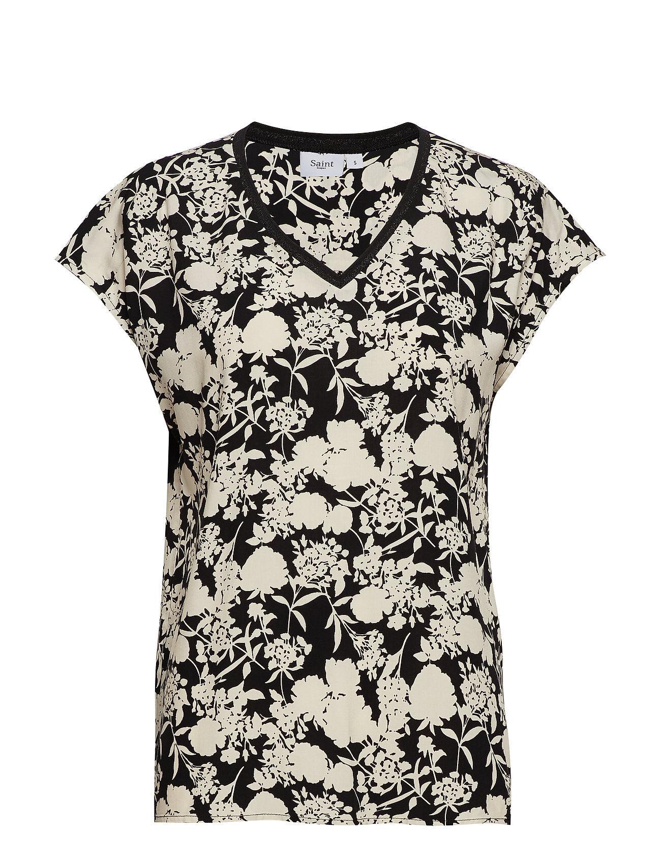 Saint Tropez Woven Top S/S W. Rib T-shirts & Tops Short-sleeved Monivärinen/Kuvioitu Saint Tropez