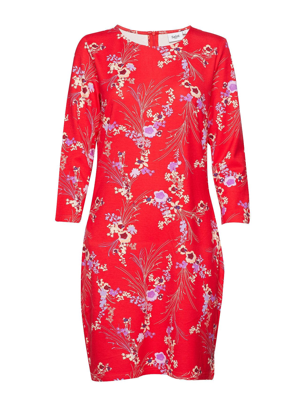 Saint Tropez Red Love P Jersey Dress Polvipituinen Mekko Punainen Saint Tropez