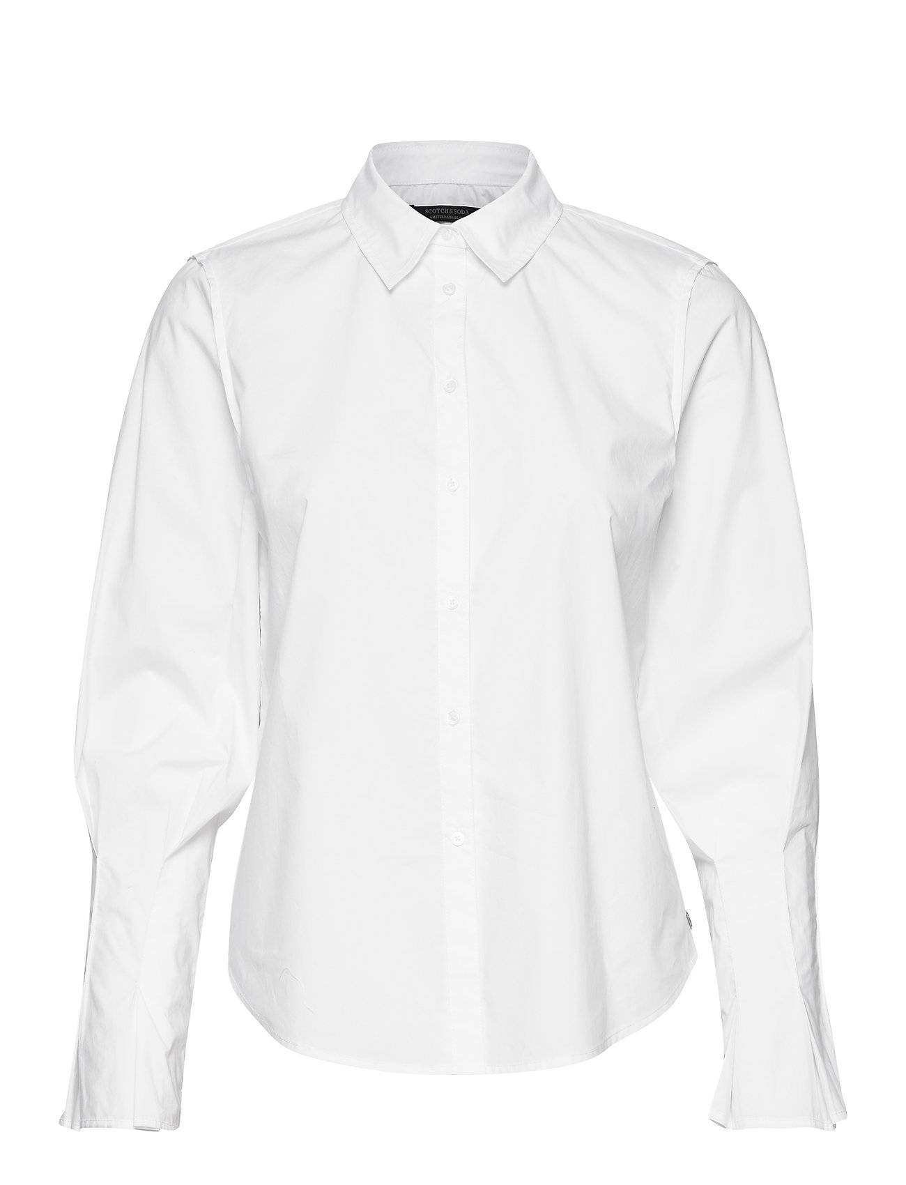 Image of Scotch & Soda Clean Shirt With Special Pleated Sleeves Pitkähihainen Paita Valkoinen Scotch & Soda