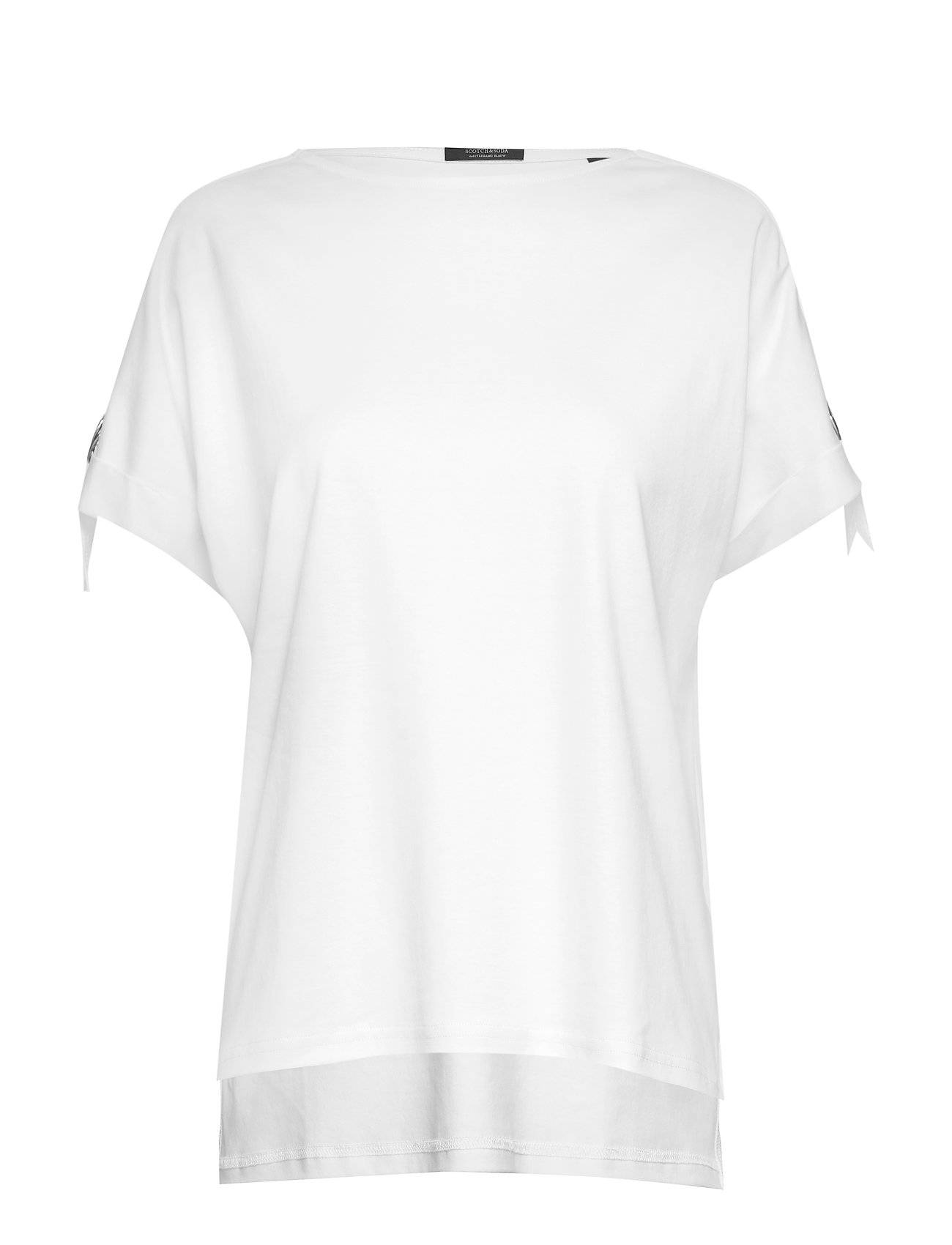 Image of Scotch & Soda Seasonal Tee With Adjustable Sleeves In Clean Quality T-shirts & Tops Short-sleeved Valkoinen Scotch & Soda
