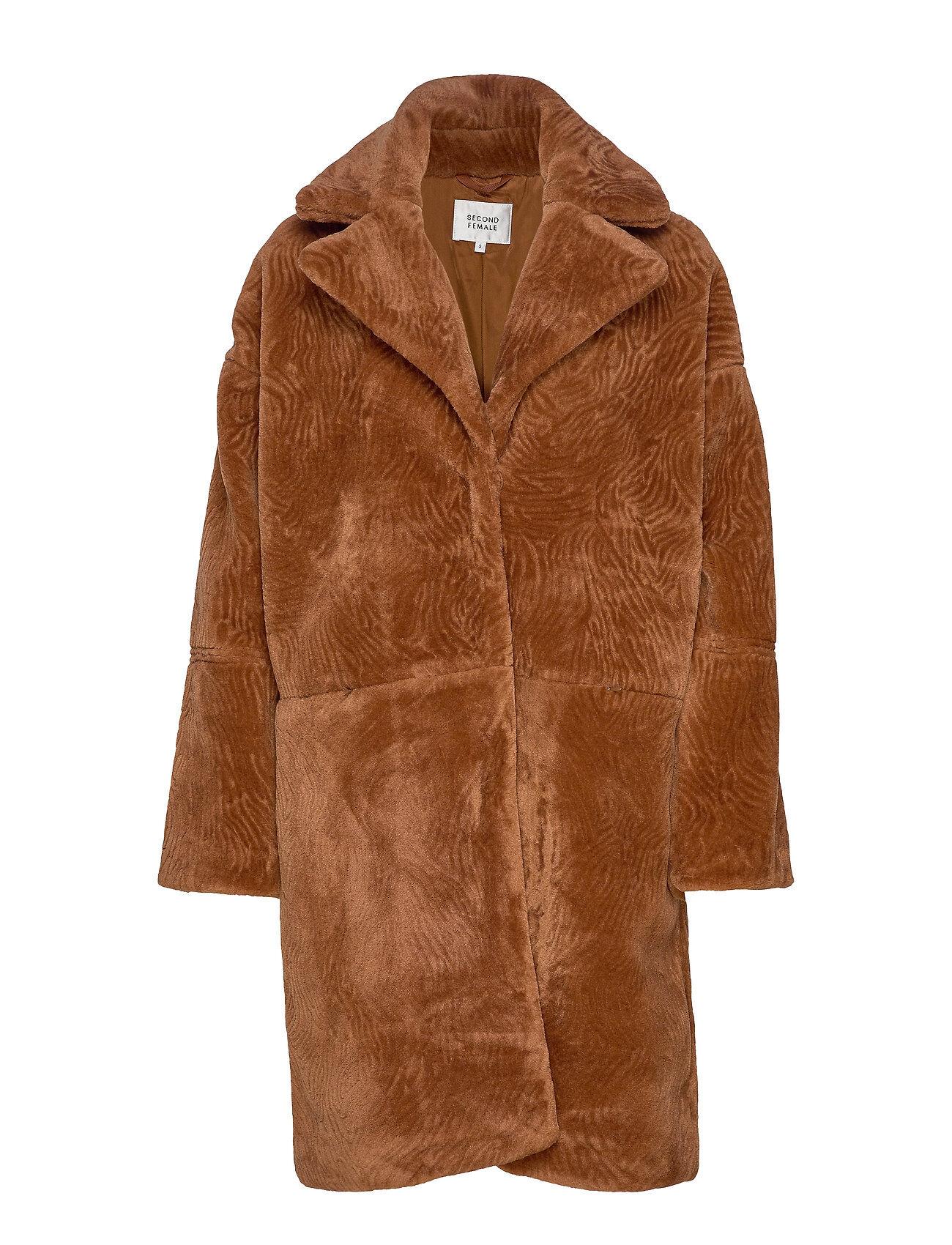 Second Female Myra Coat Outerwear Faux Fur Ruskea Second Female