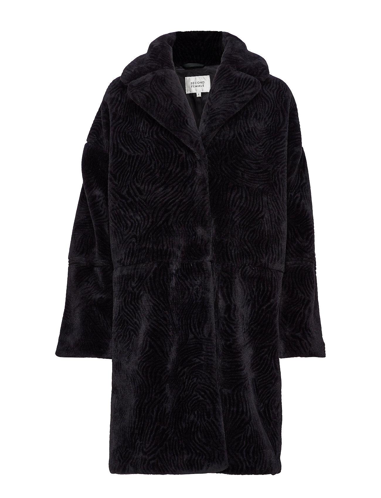 Second Female Myra Coat Outerwear Faux Fur Musta Second Female