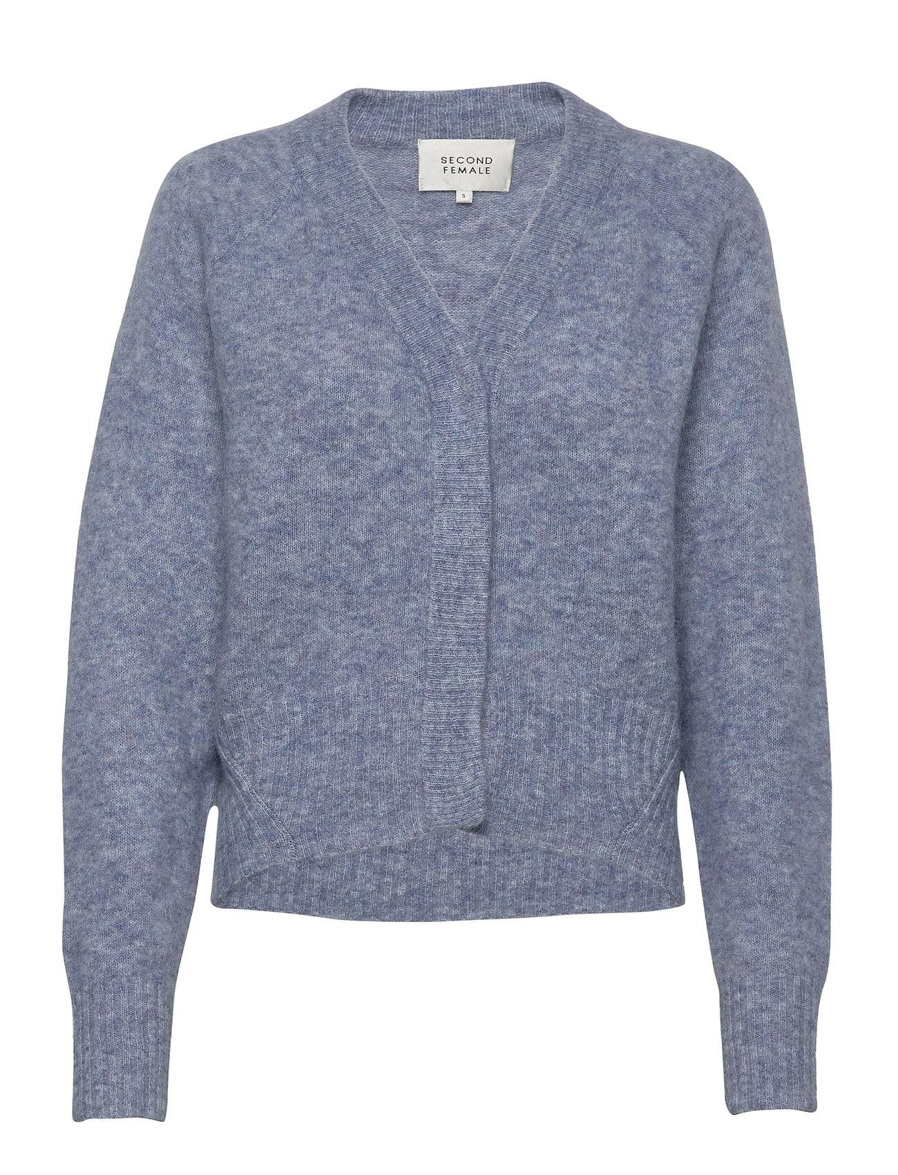 Second Female This Cardigan With Deep V-Neck Is Made From A Soft Mohair-W Neulepaita Sininen Second Female