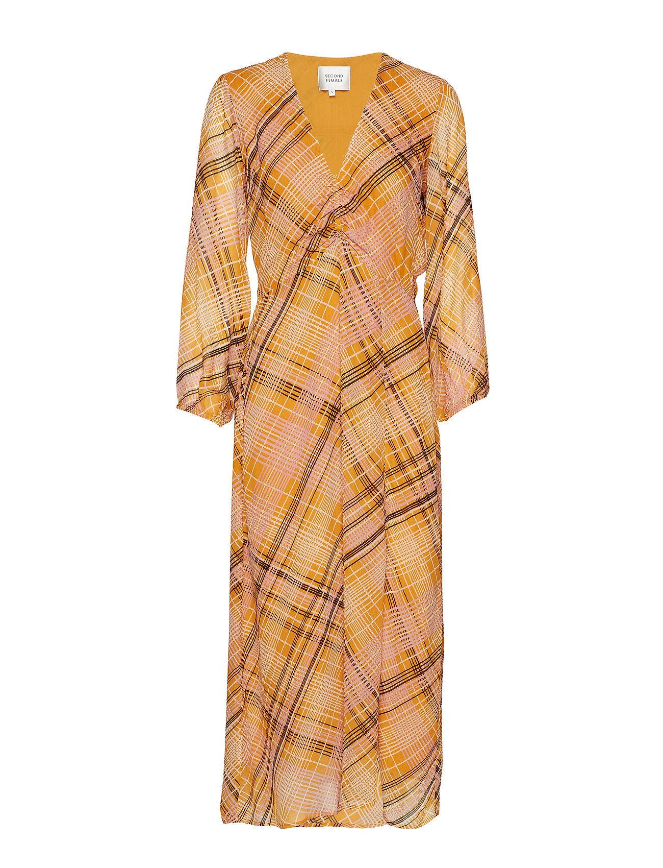 Second Female Loch Midi Dress Polvipituinen Mekko Keltainen Second Female