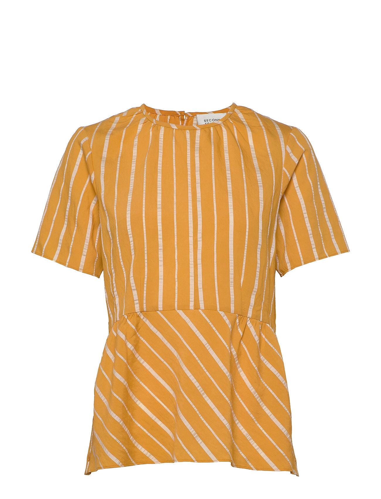 Second Female Jane Ss Blouse Blouses Short-sleeved Keltainen Second Female