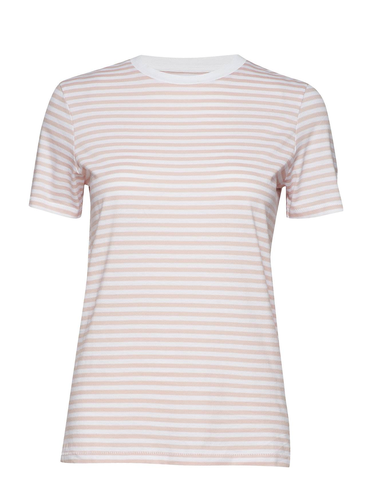 Selected Femme Slfmy Perfect Ss Tee Box Cut-Stri. Noos T-shirts & Tops Short-sleeved Vaaleanpunainen Selected Femme