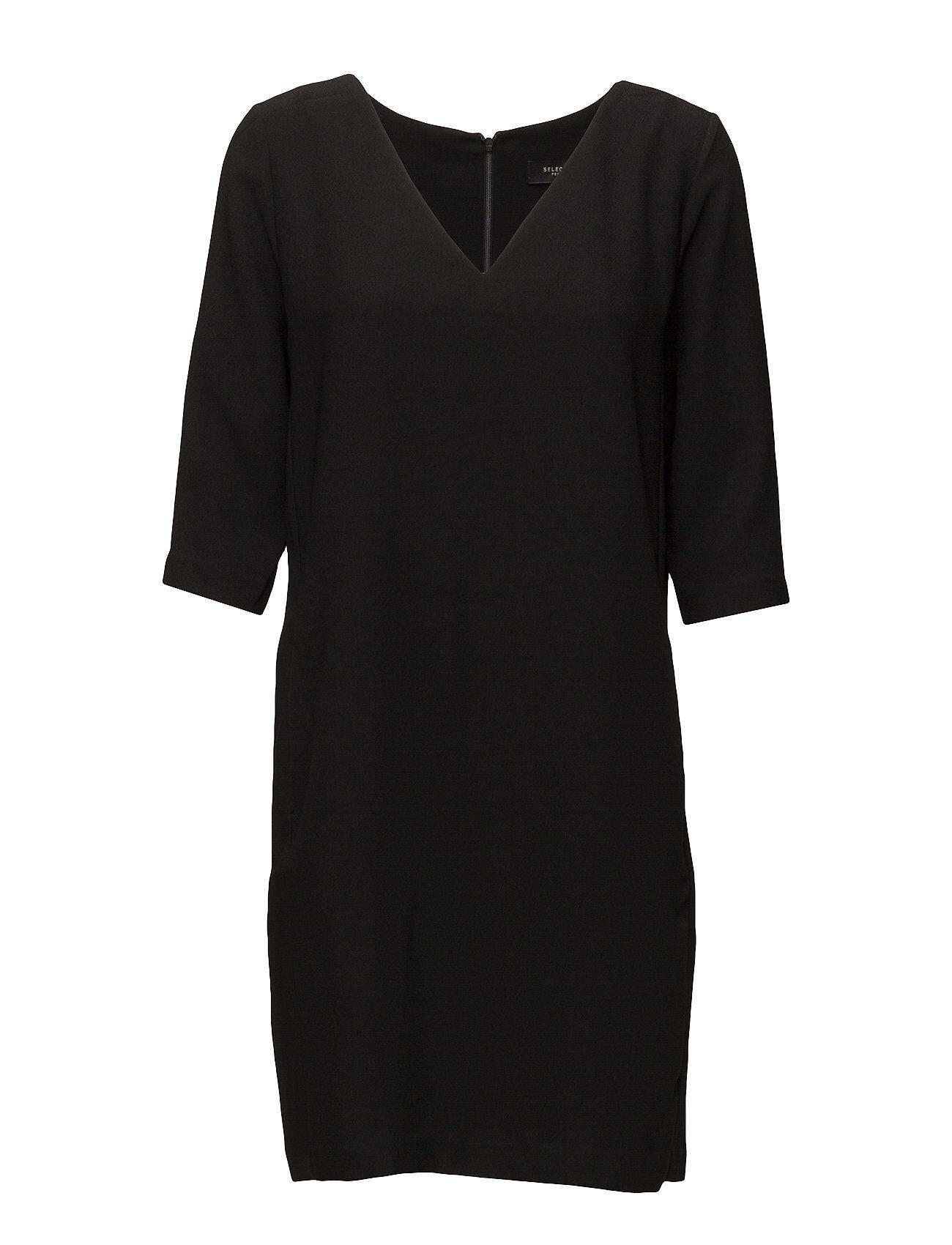 Selected Femme Slftunni Smile 3/4 Dress Noos Polvipituinen Mekko Musta Selected Femme