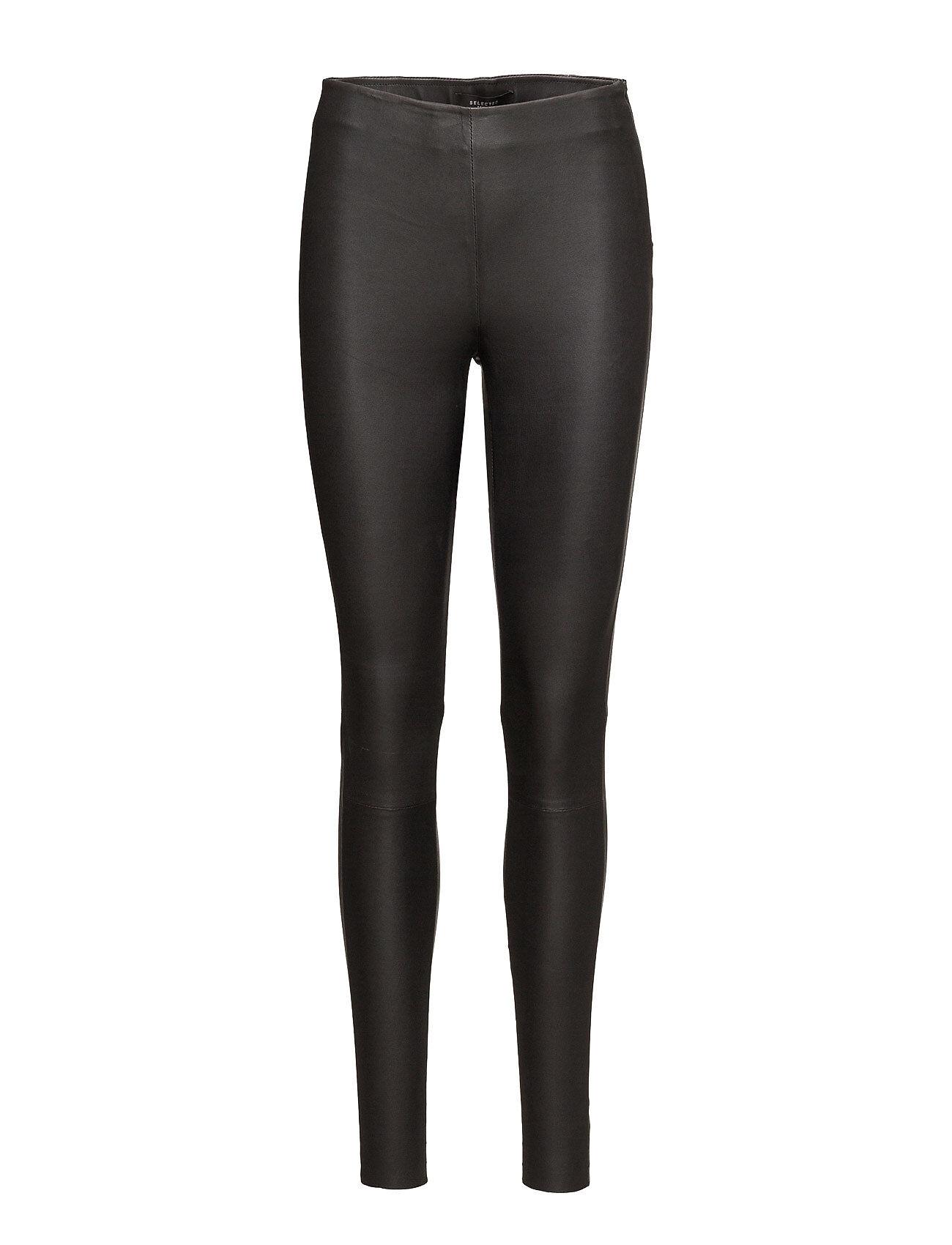 Selected Femme Slfsylvia Mw Stretch Leather Leggin Noos Leather Leggings/Housut Musta Selected Femme